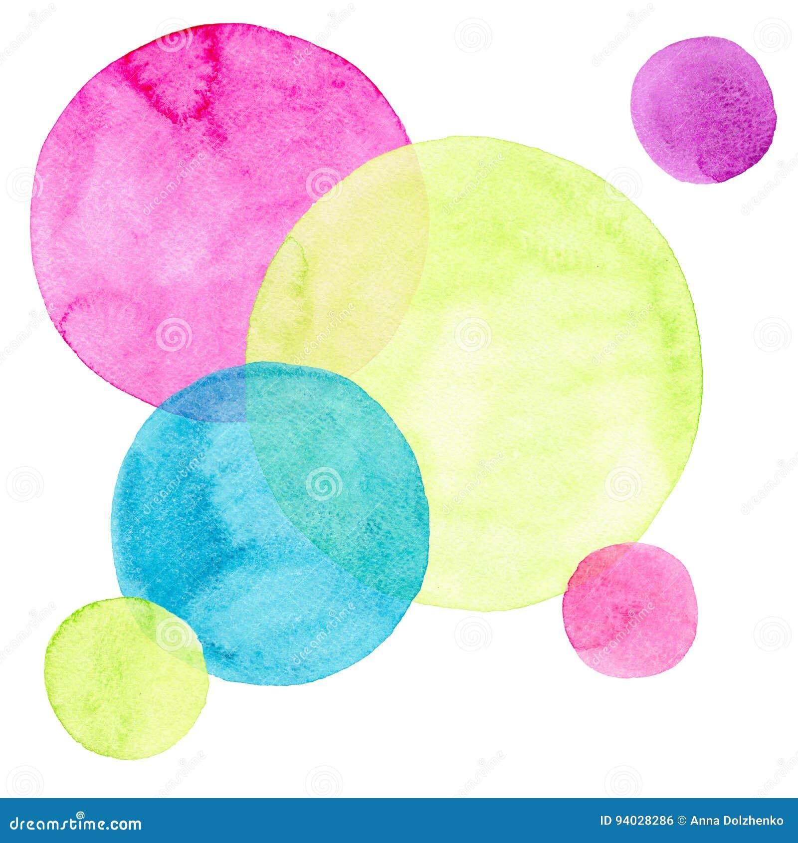 Verschiedene Formen der abstrakten schönen künstlerischen zarten wunderbaren transparenten hellen bunten Kreise kopieren Aquarell