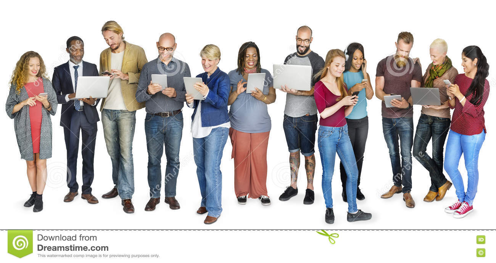 Verschiedene Gruppen-Leute-stehendes Technologie-Konzept