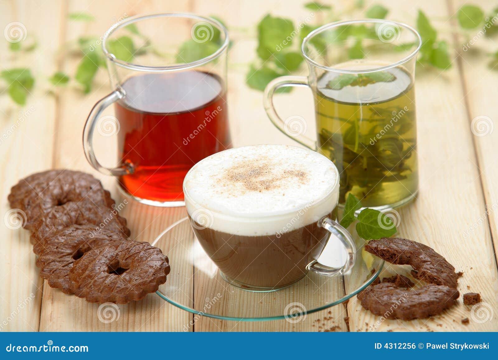 Verschiedene Heiße Getränke Stockfoto - Bild von flüssigkeit ...