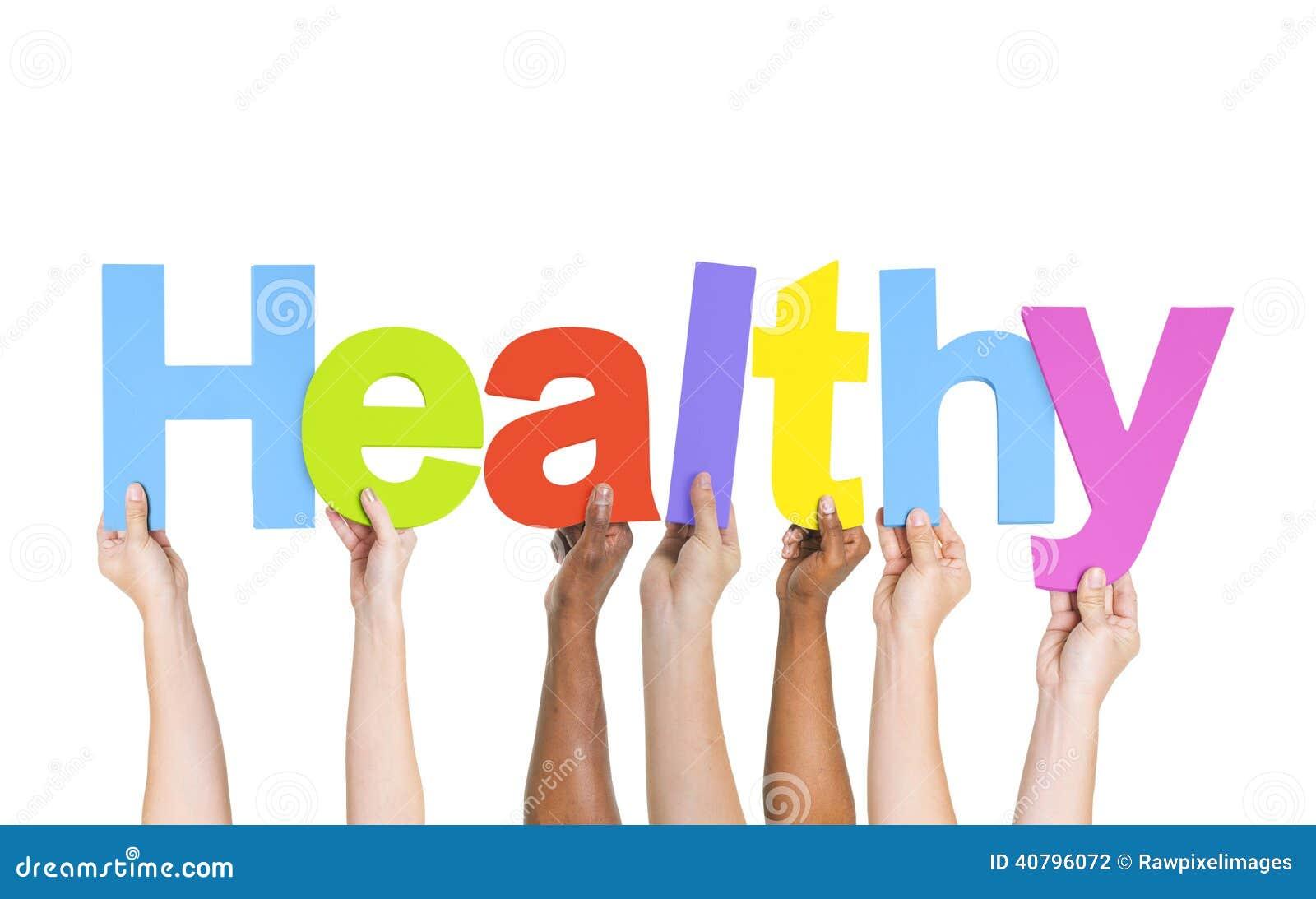 verschiedene h u00e4nde  die das wort gesund halten stockfoto exercise clip art pictures free exercise clip art in black & white