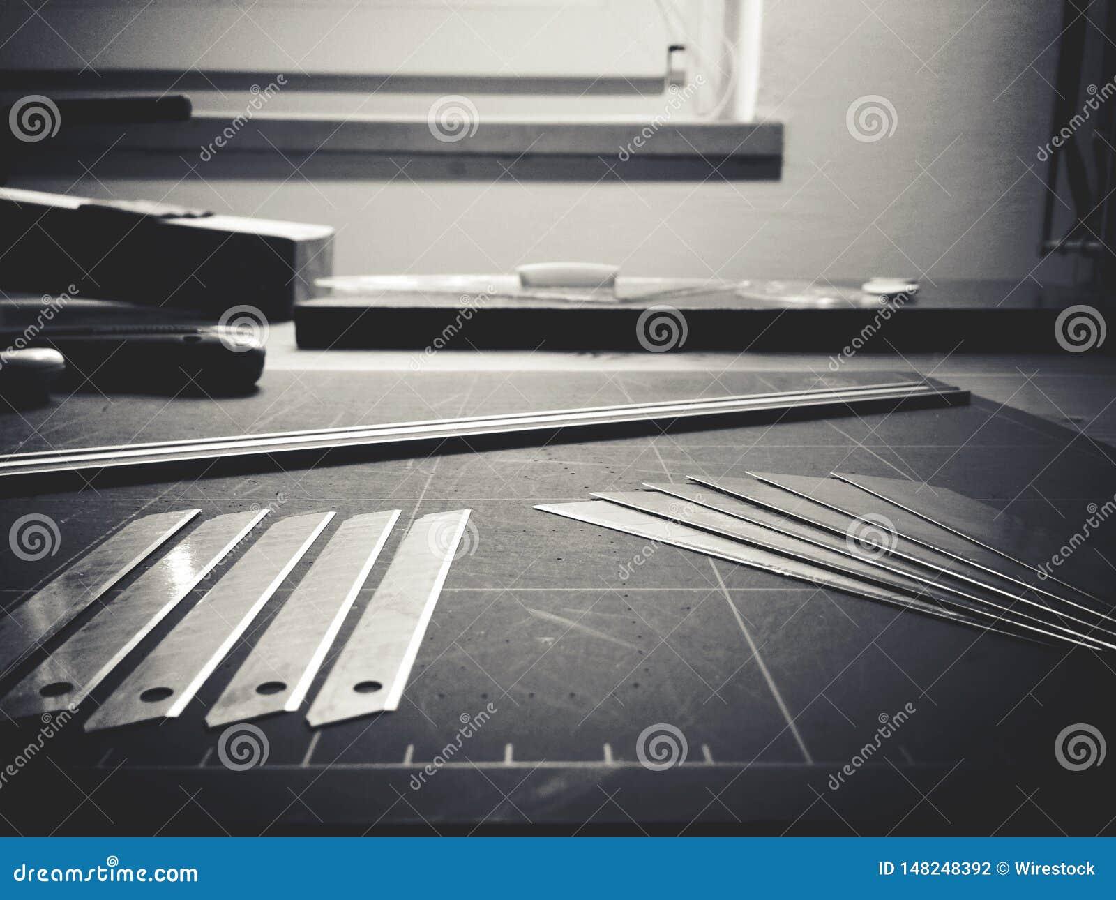 Verschiedene Instrumente eines Architekten