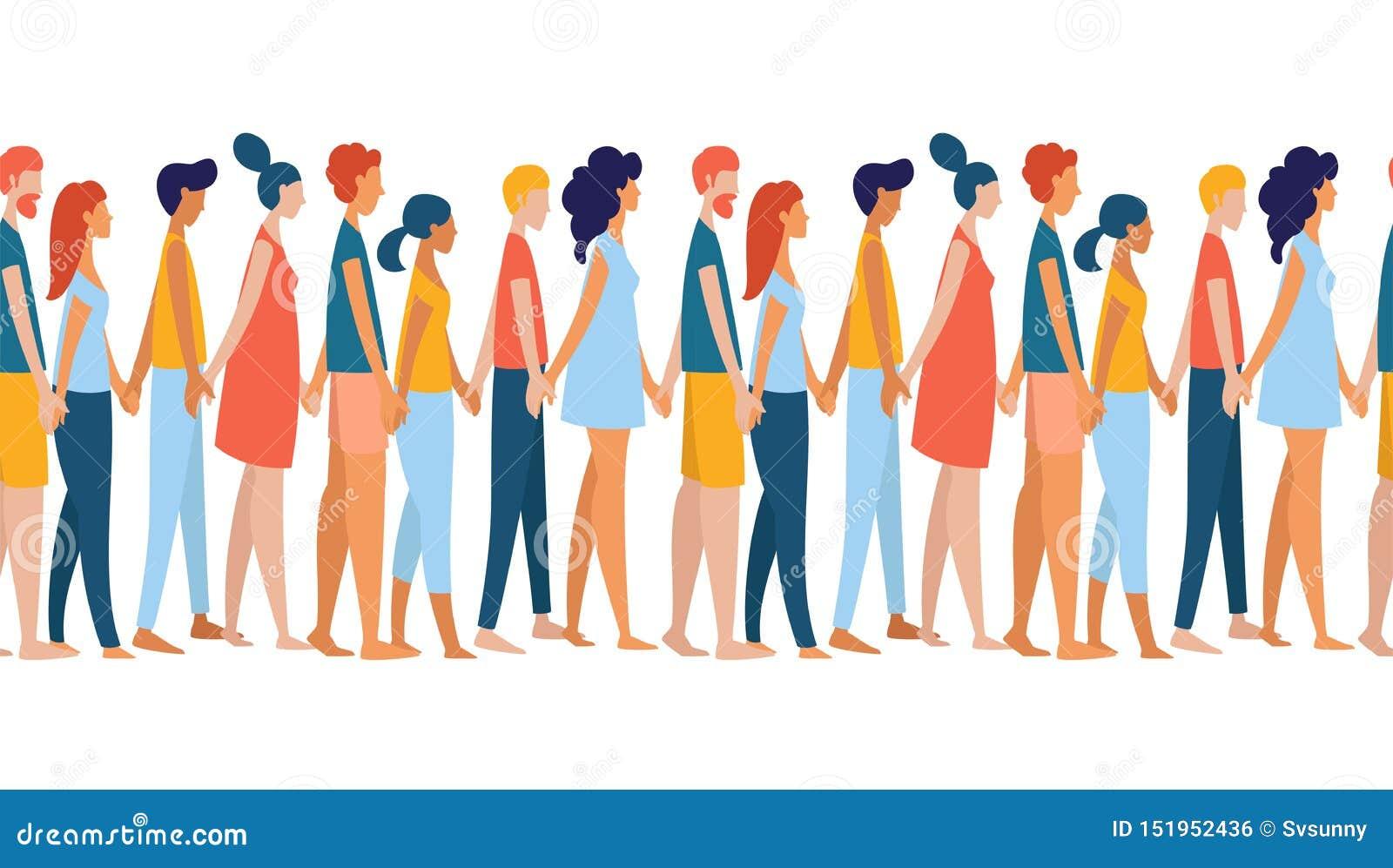 Verschiedene multiethnische Frauen und Männer gruppieren Mengenhändchenhalten zusammen