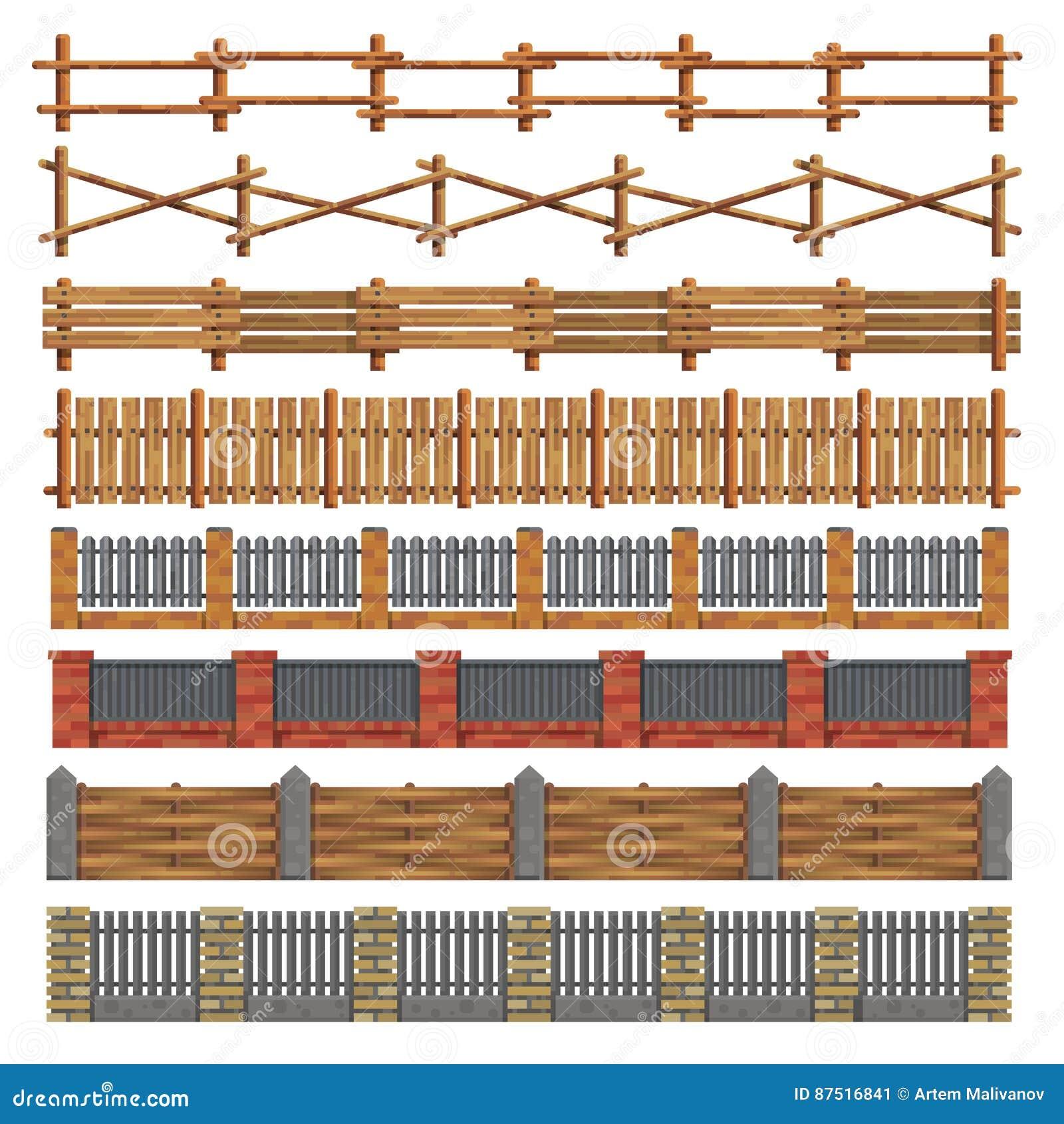 Verschiedene Nahtlose Holz Und Ziegelsteinzaune Vektor Vektor