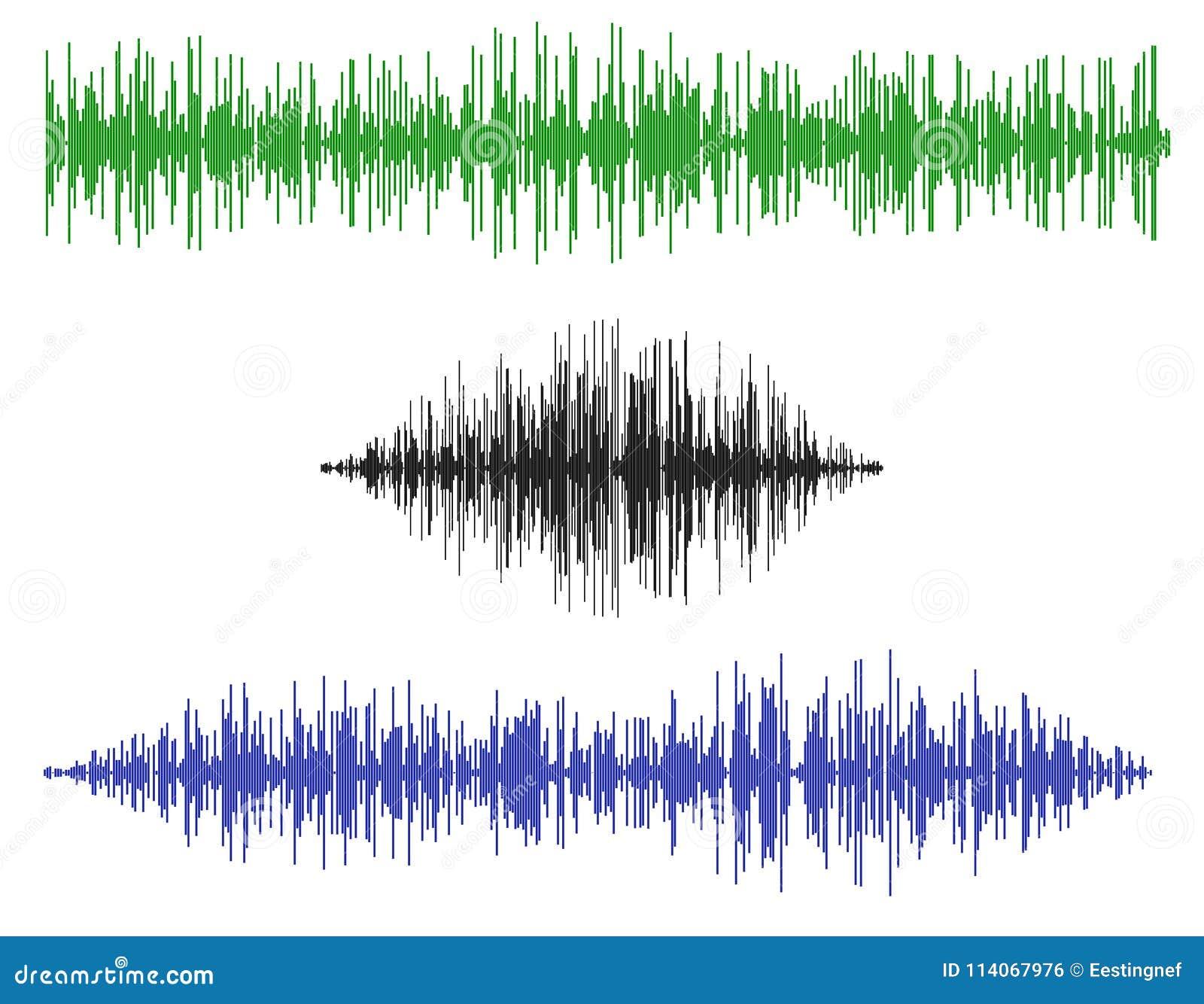 Verschiedene Schallwellen Getrennt auf weißem Hintergrund Vektor illustr