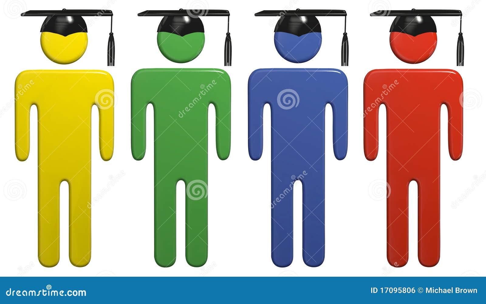 Verschiedene Schuleausbildungs-Staffelungschutzkappenkursteilnehmer