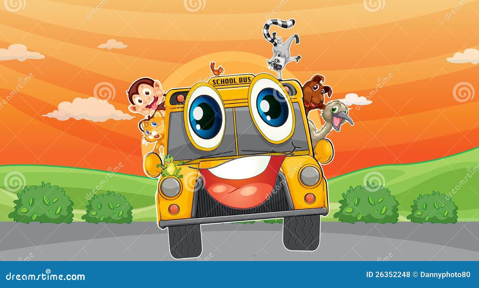 Verschiedene Tiere im Schulbus