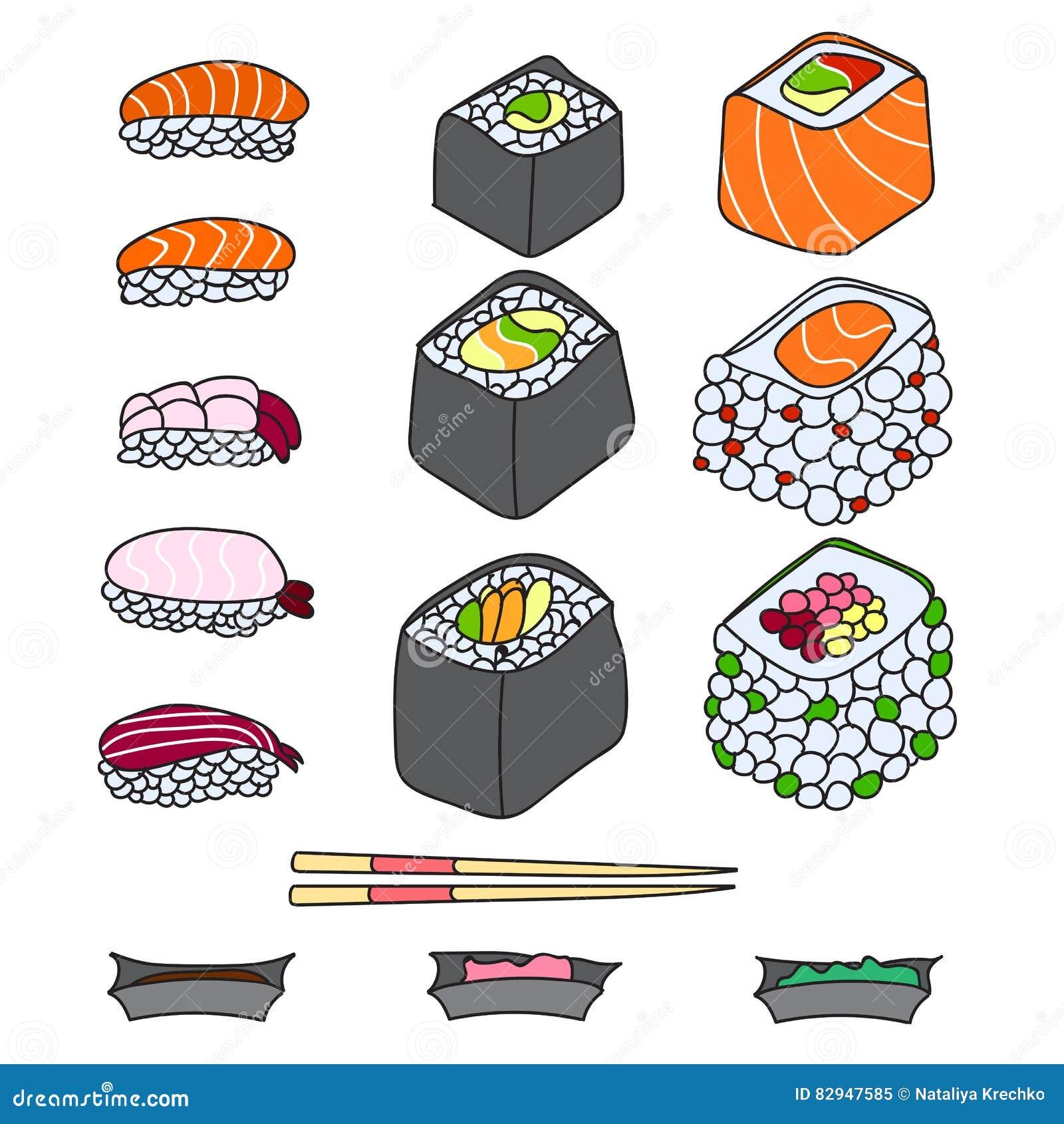 verschiedene verschiedene arten von sushi vektor abbildung bild 82947585. Black Bedroom Furniture Sets. Home Design Ideas