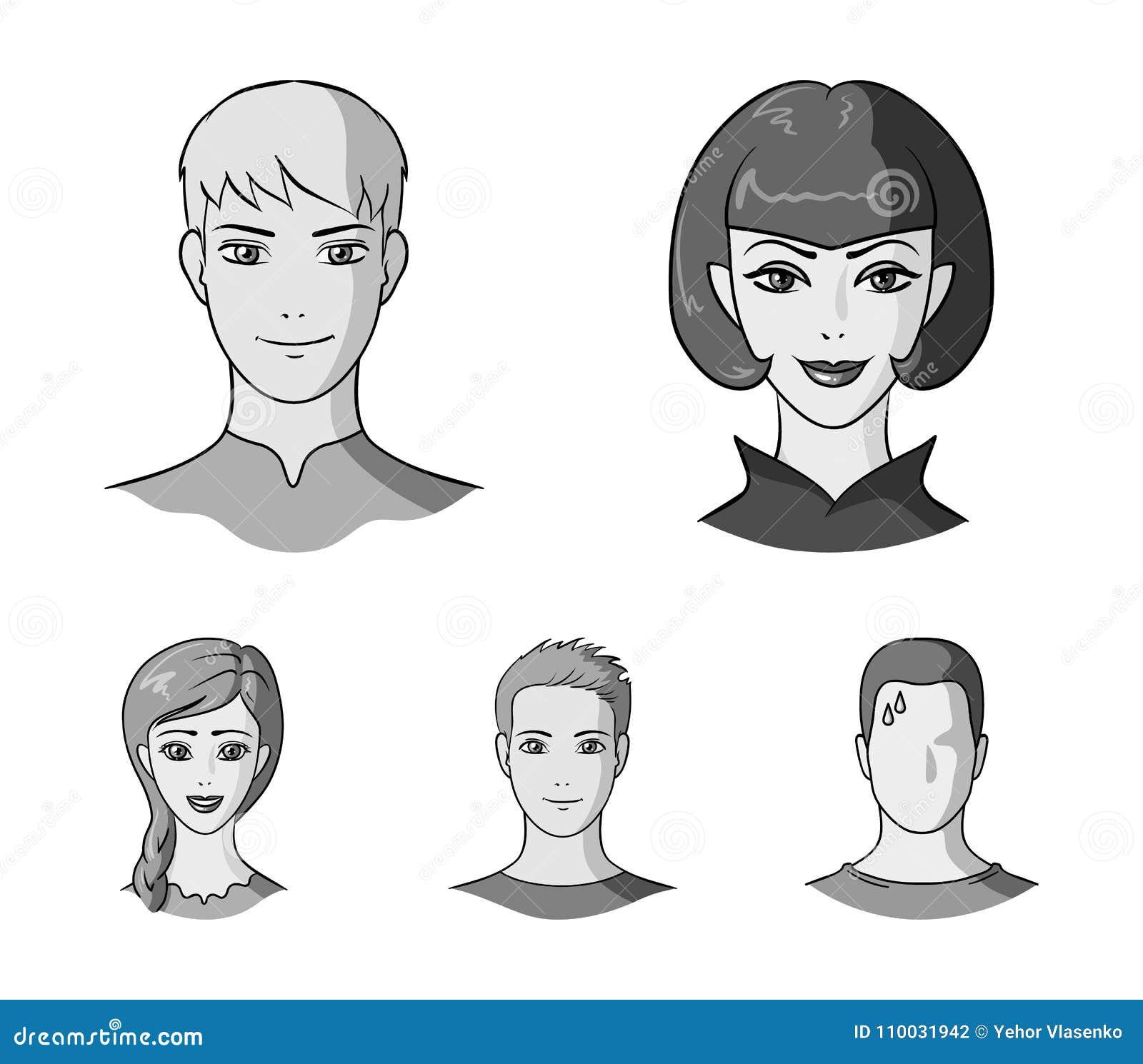 Verschillend kijkt van jongeren Avatar en gezichts vastgestelde inzamelingspictogrammen in de zwart-wit voorraad van het stijl ve