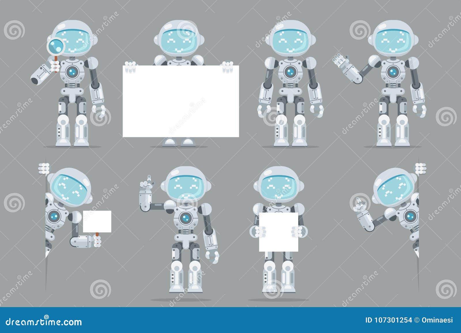 Verschillend stelt van de de robot androïde kunstmatige intelligentie van de jongenstiener van de de informatieinterface futurist