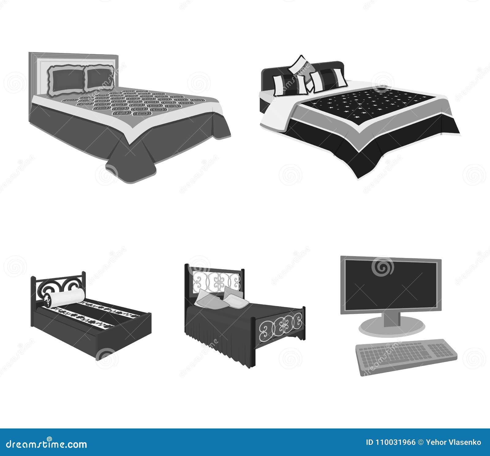 Verschillende bedden zwart-wit pictogrammen in vastgestelde inzameling voor ontwerp Meubilair voor de voorraadweb van het slaap v