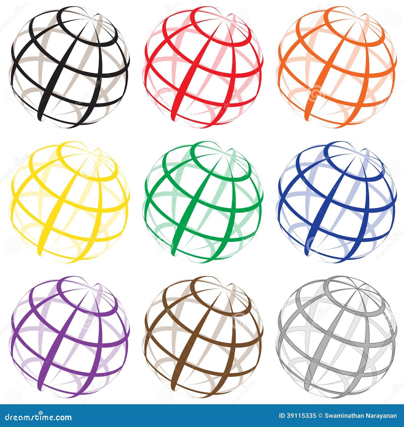 Verschillende de wereldemblemen van de kleurendraad