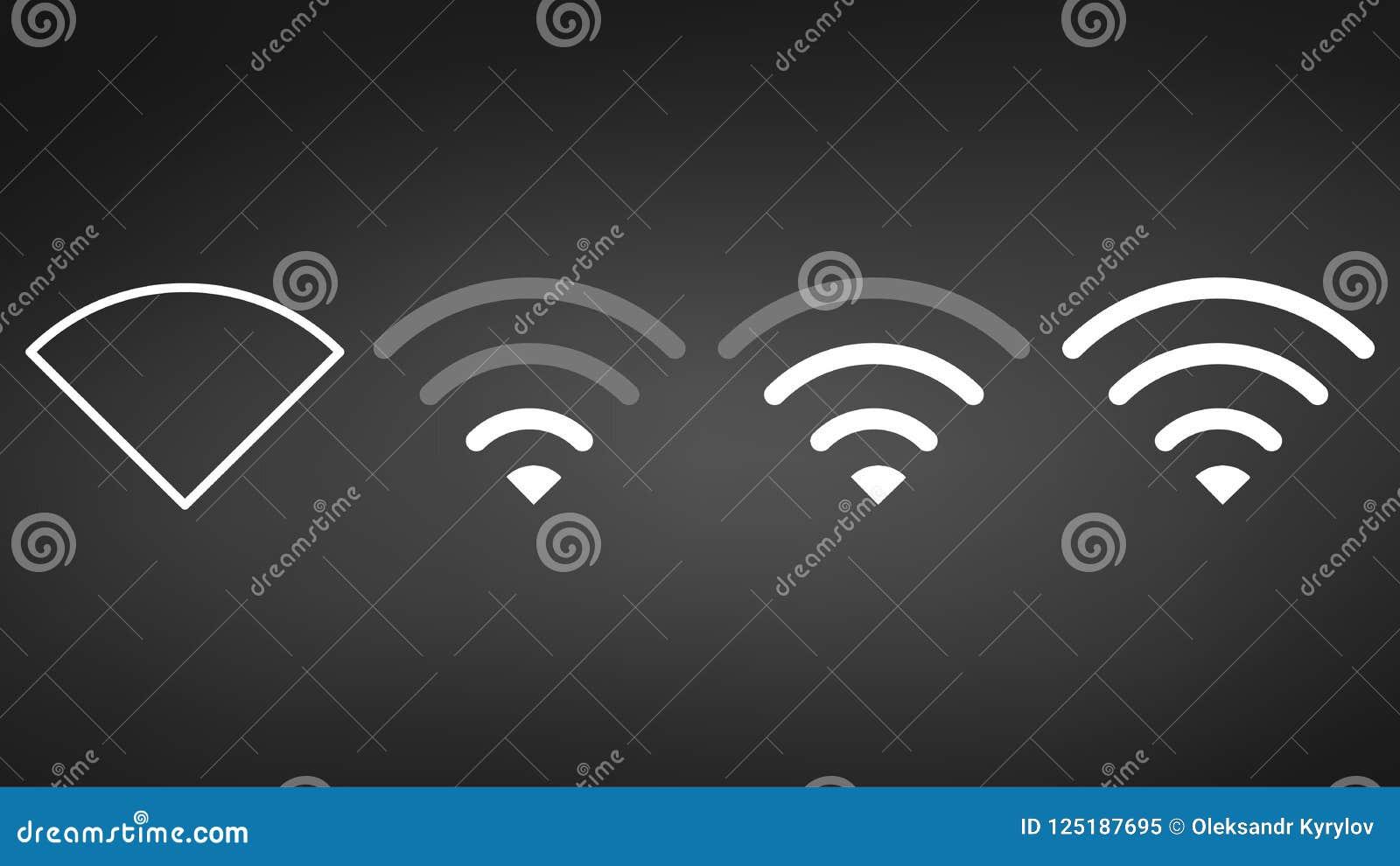 Verschillende het signaalniveaus van WiFi Draadloos de indicatorpictogram van de signaalsterkte Teken voor verre internettoegang