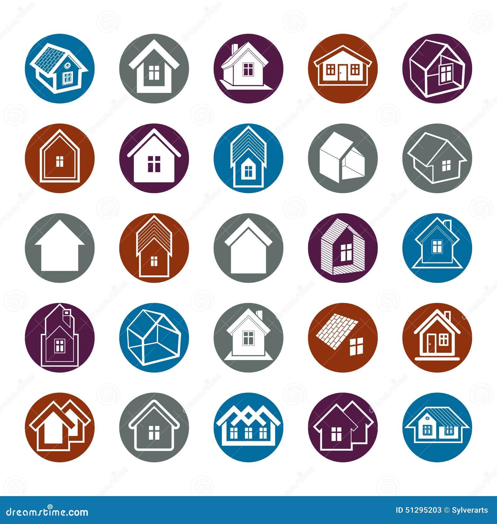 Verschillende huizenpictogrammen voor gebruik in grafisch ontwerp, reeks van herenhuis