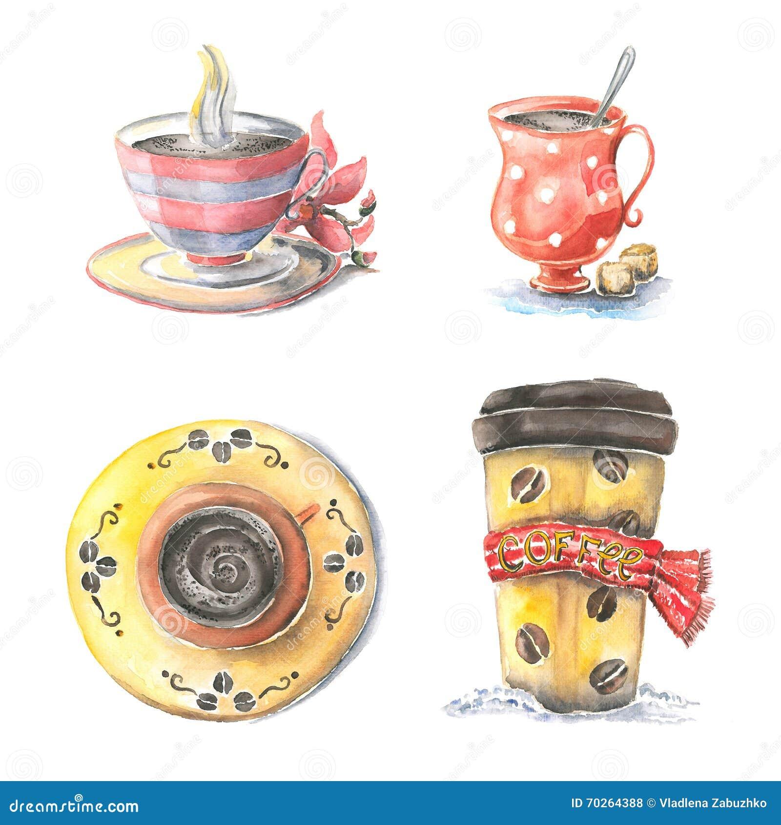 Verschillende koppen van koffie,