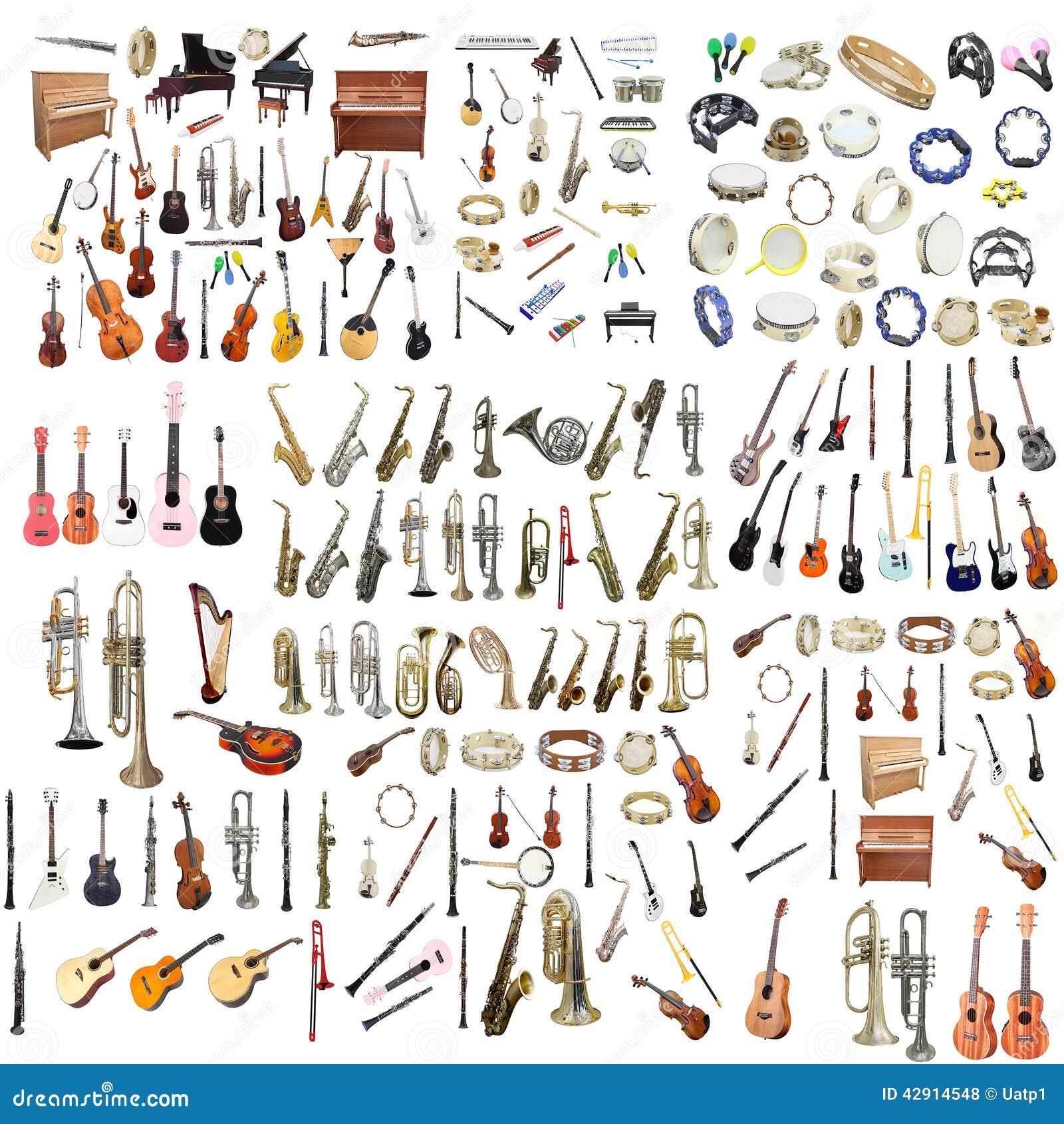 Verschillende muziekinstrumenten
