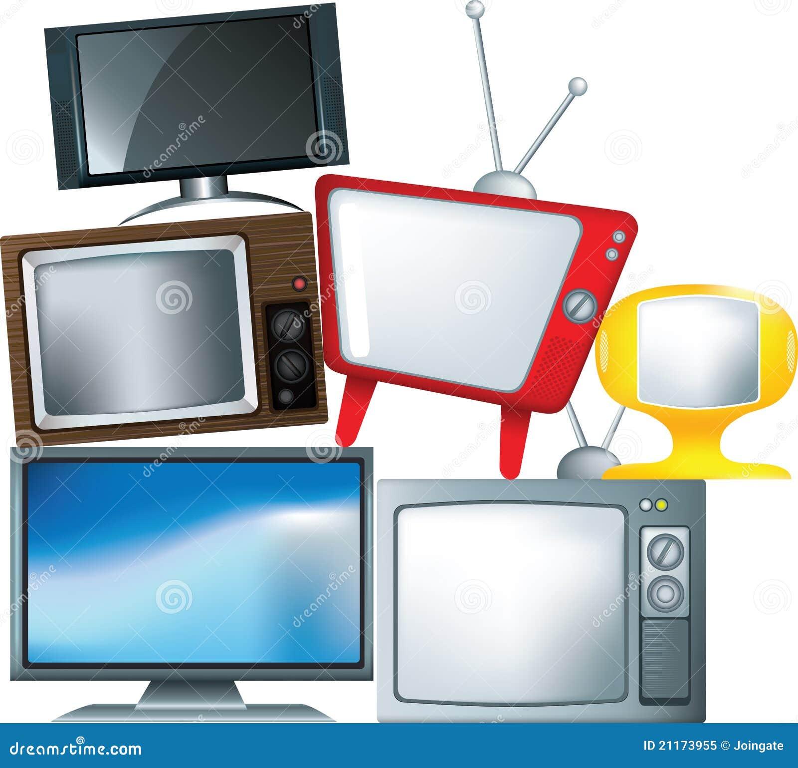 Verschillende soorten televisietoestel in een stapel