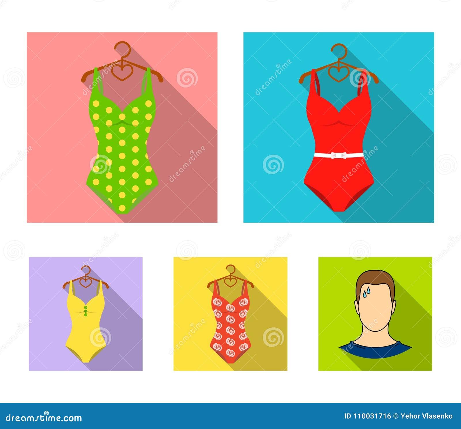 Verschillende soorten zwempakken Zwempakken geplaatst inzamelingspictogrammen in het vlakke Web van de de voorraadillustratie van