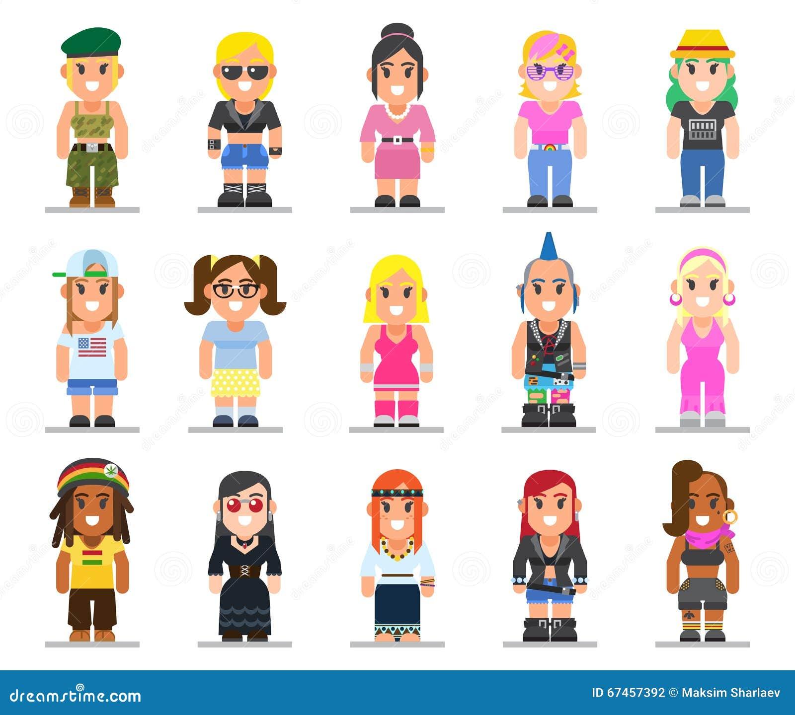 Verschillende subculturenvrouw in in vlakke stijl