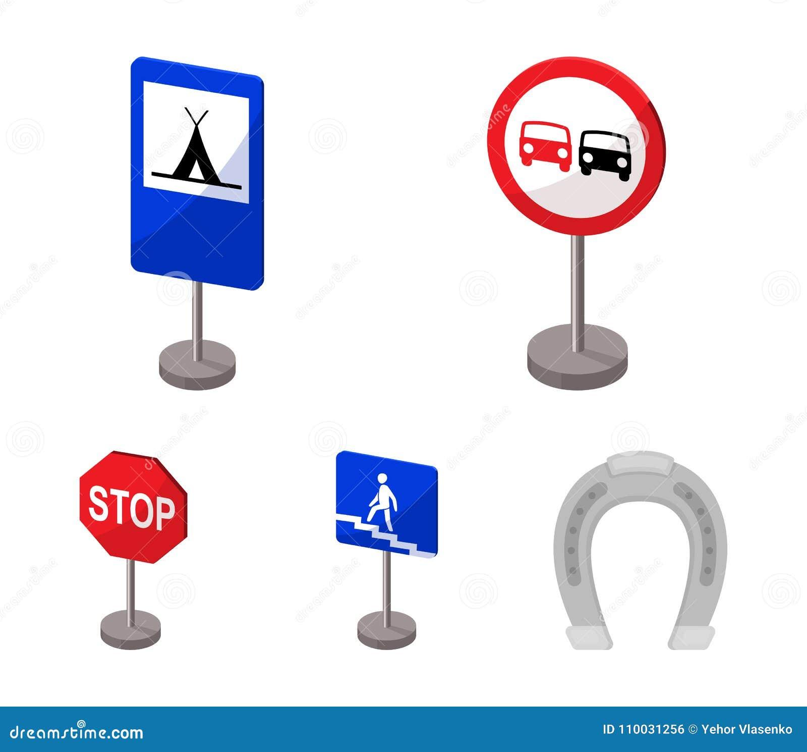 Verschillende types van de pictogrammen van het verkeerstekenbeeldverhaal in vastgestelde inzameling voor ontwerp Waarschuwing en