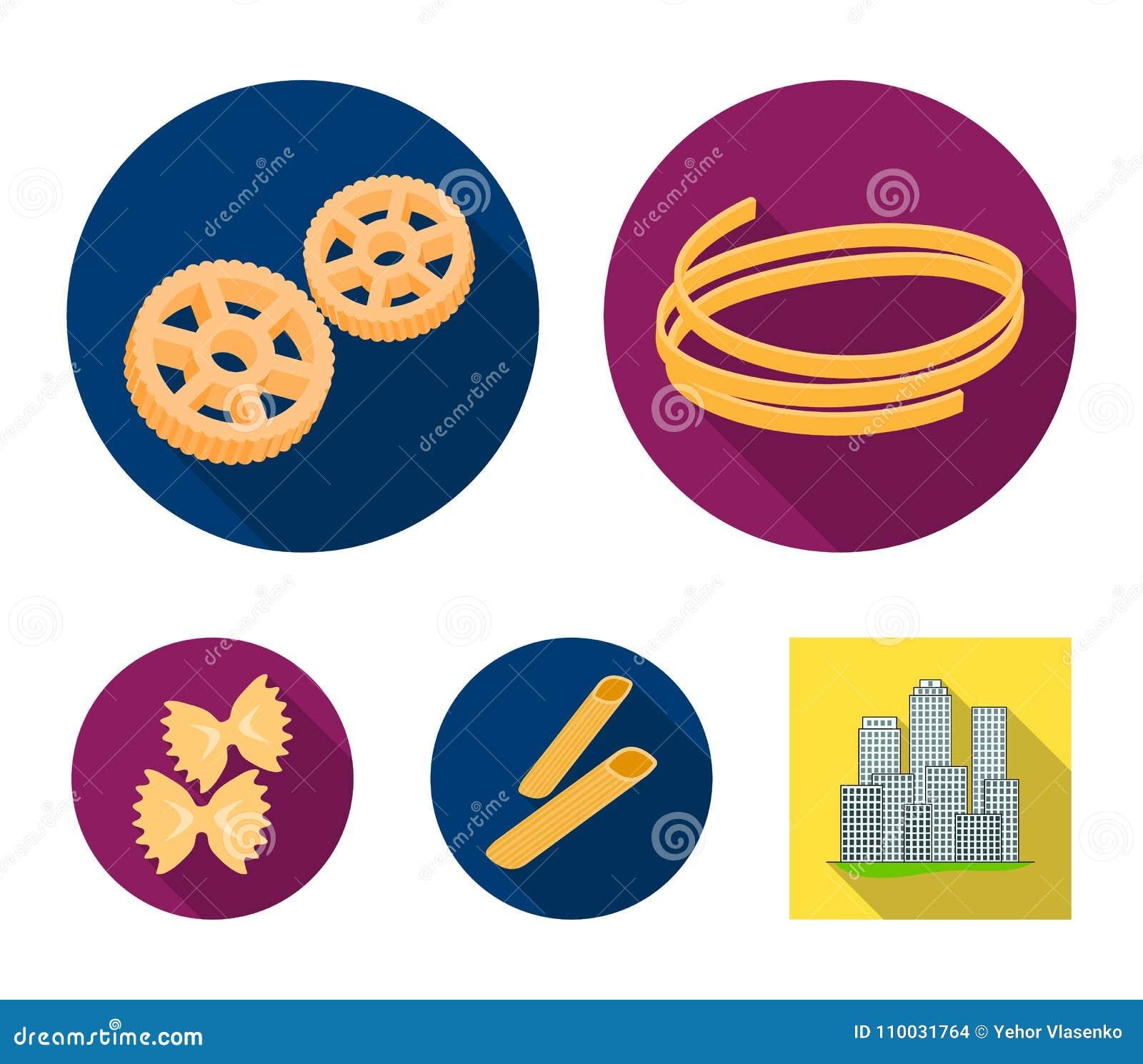 Verschillende types van deegwaren Types van pictogrammen van de deegwaren de vastgestelde inzameling in het vlakke Web van de de