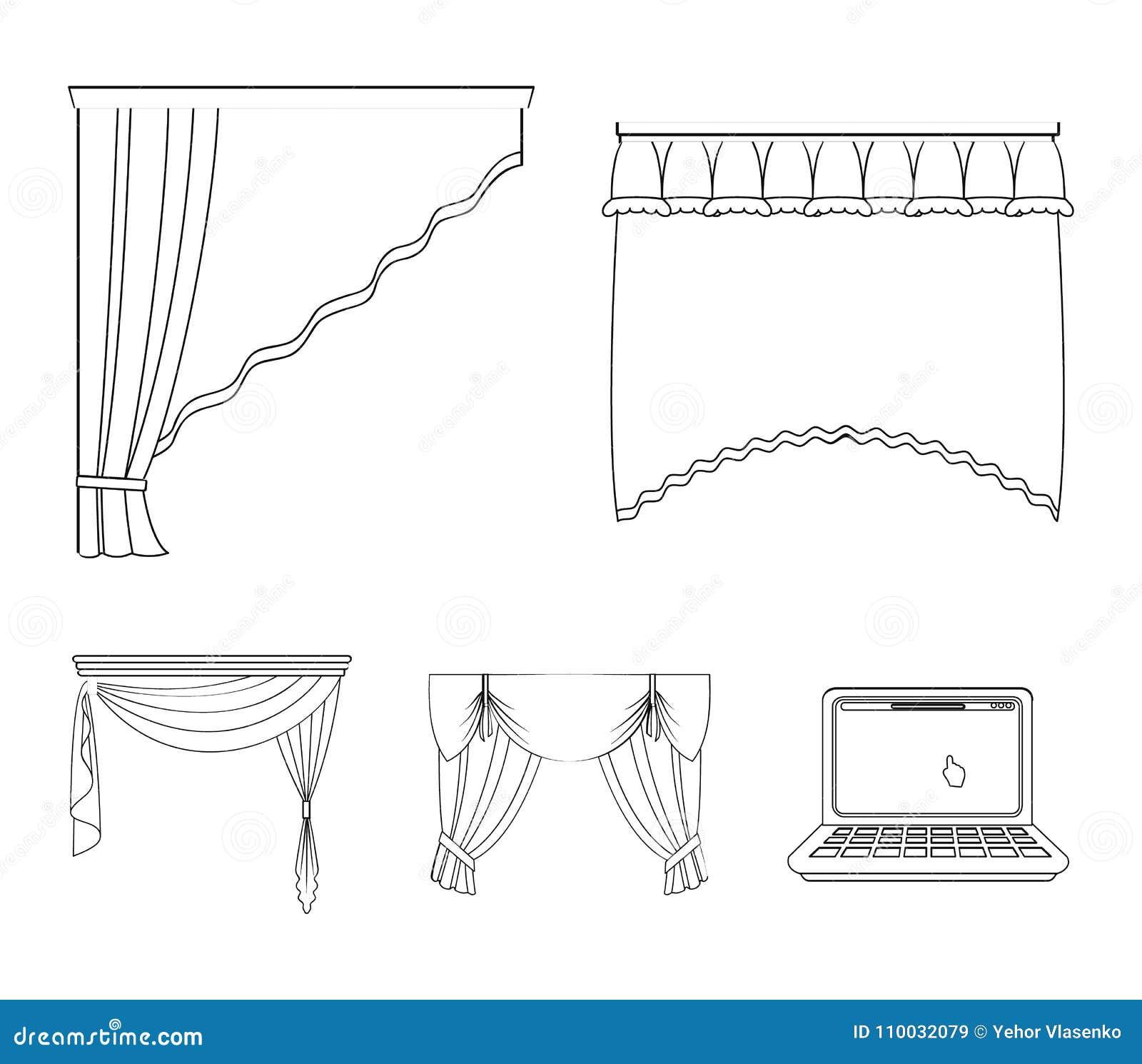 Verschillende types van venstergordijnen Gordijnen geplaatst inzamelingspictogrammen in van de het symboolvoorraad van de overzic