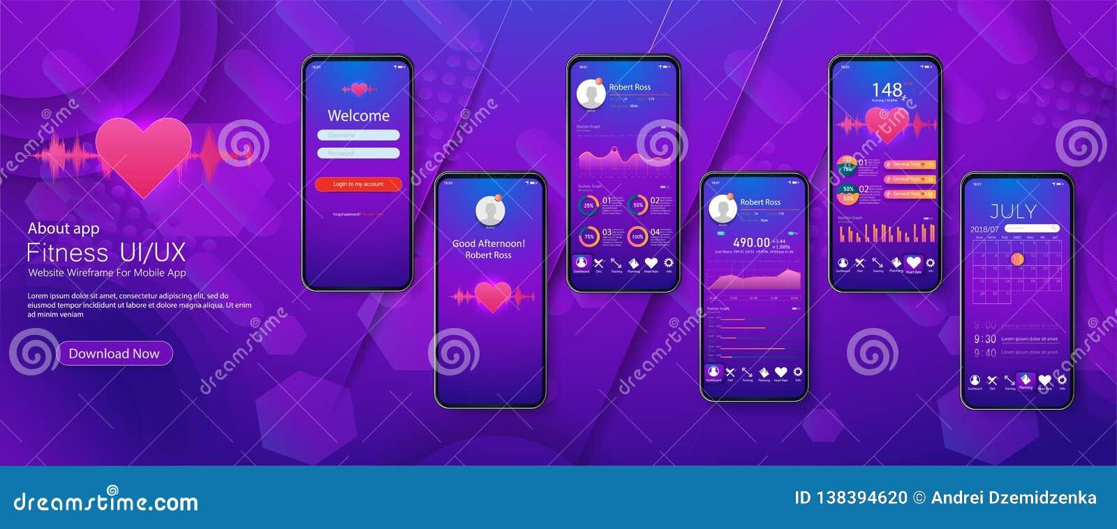 Verschillende UI, UX, GUI-de schermengeschiktheid app