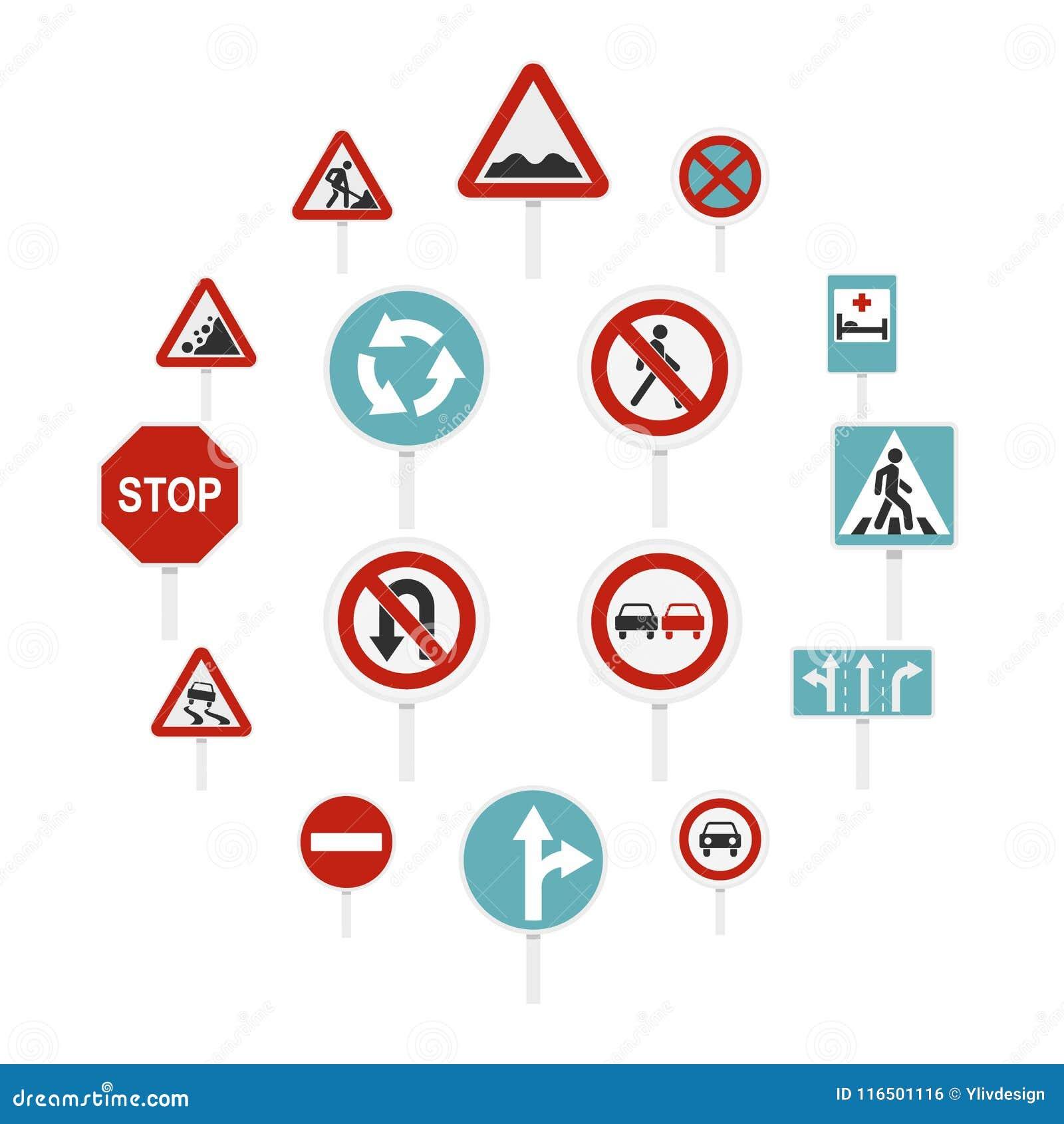 Verschillende verkeersteken geplaatst vlakke pictogrammen