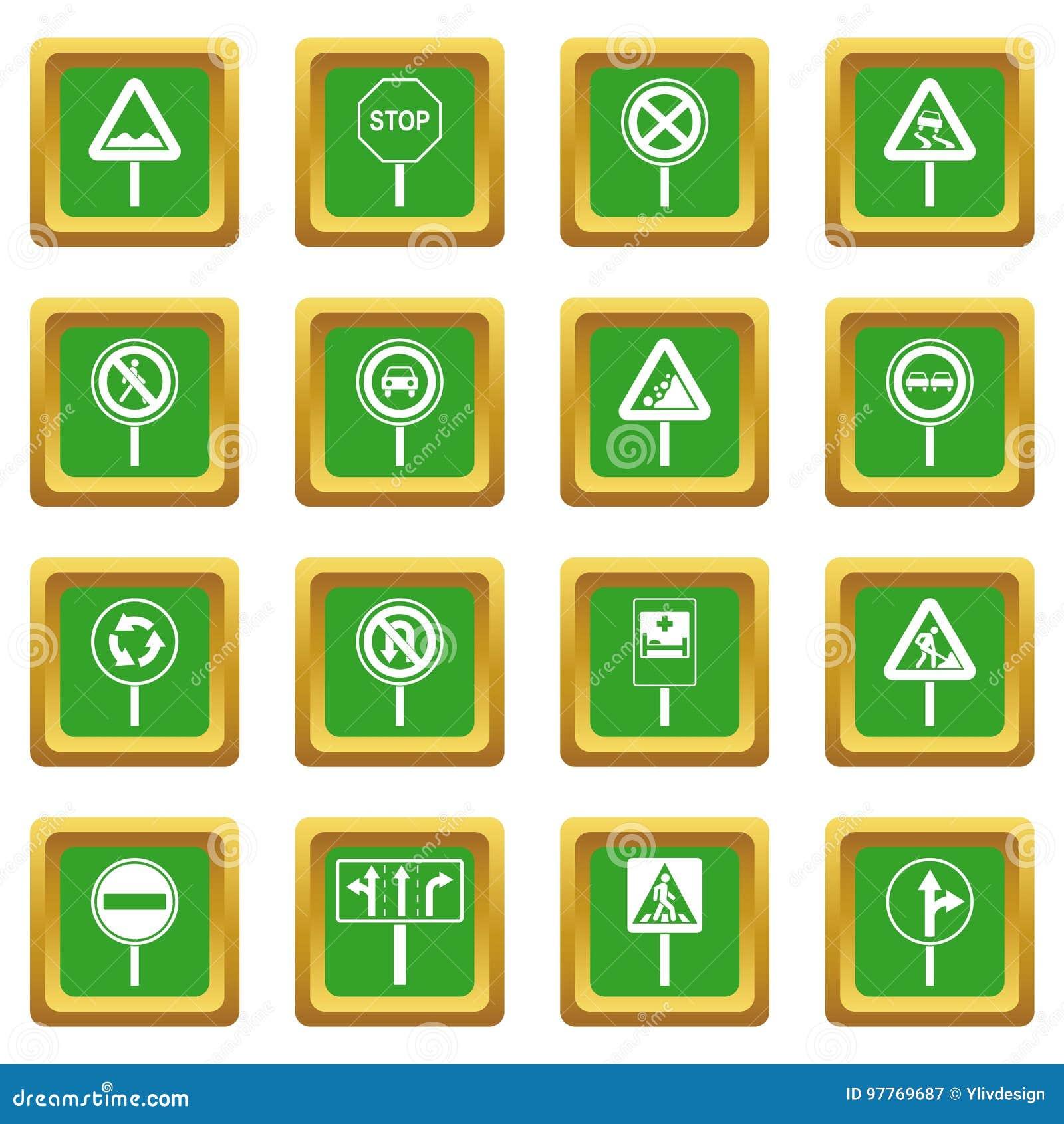 Verschillende verkeerstekenpictogrammen geplaatst groen