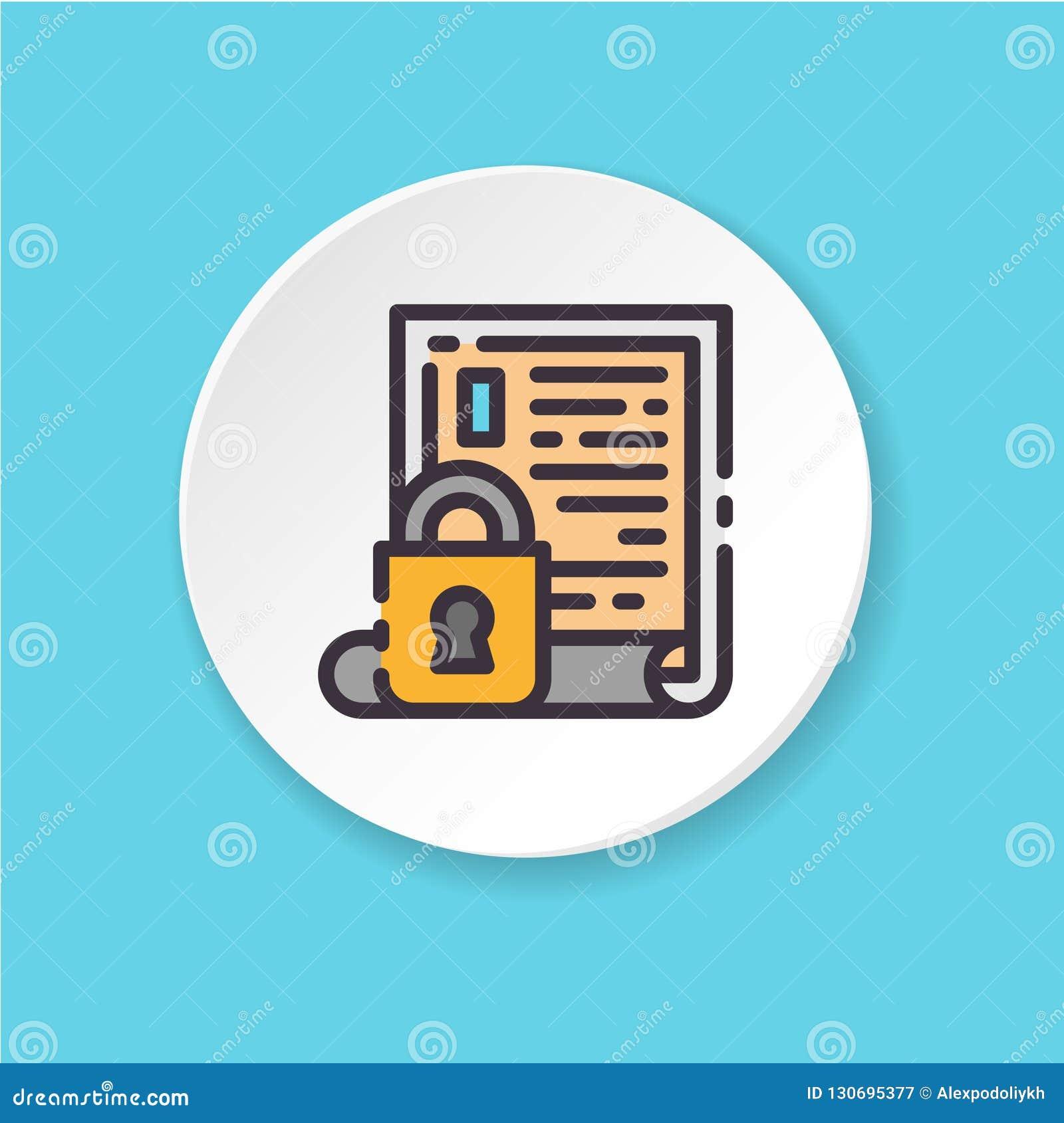 Verschlossener Zugang der flachen Ikone des Vektors Ð-¡ onfidential Informationen