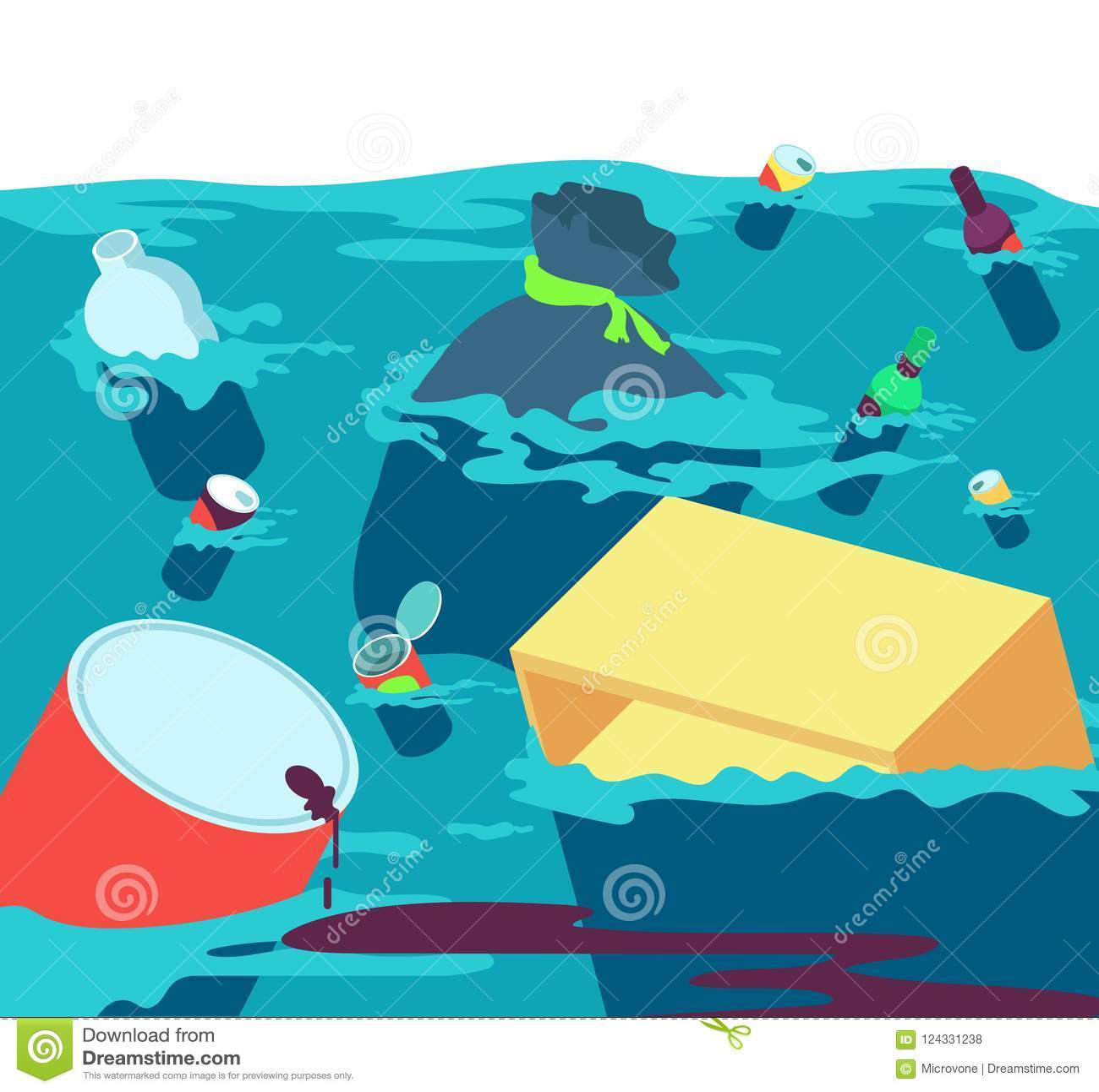 Verschmutztes Wasser Schmutziger Fluss der Fische mit Abfall und Plastik Frischwasserverschmutzungsvektorkonzept