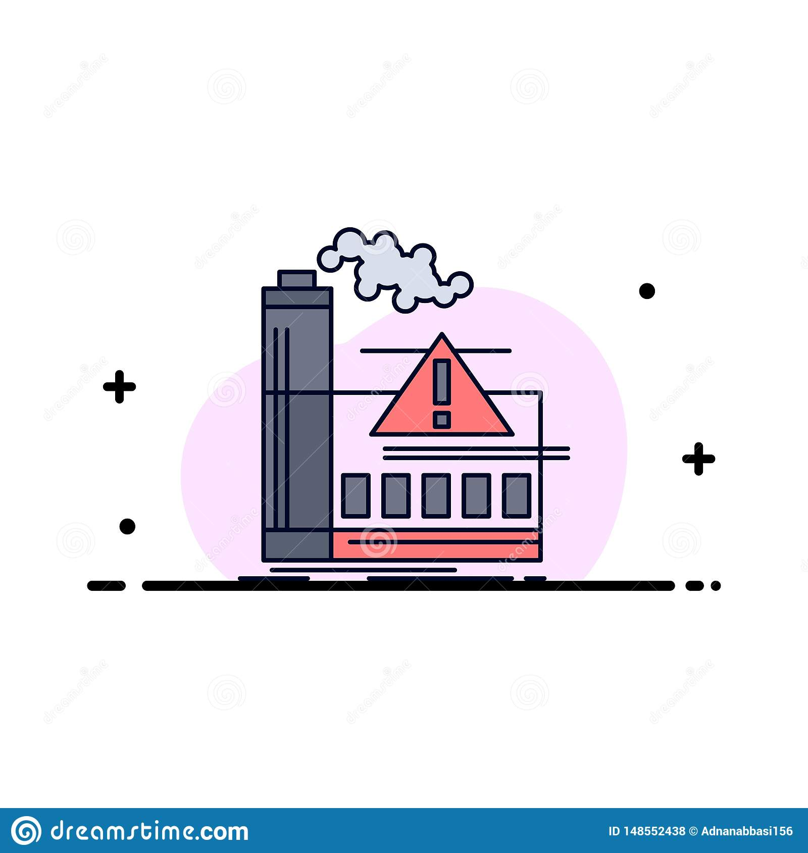 Verschmutzung, Fabrik, Luft, Alarm, Industrie flacher Farbikonen-Vektor