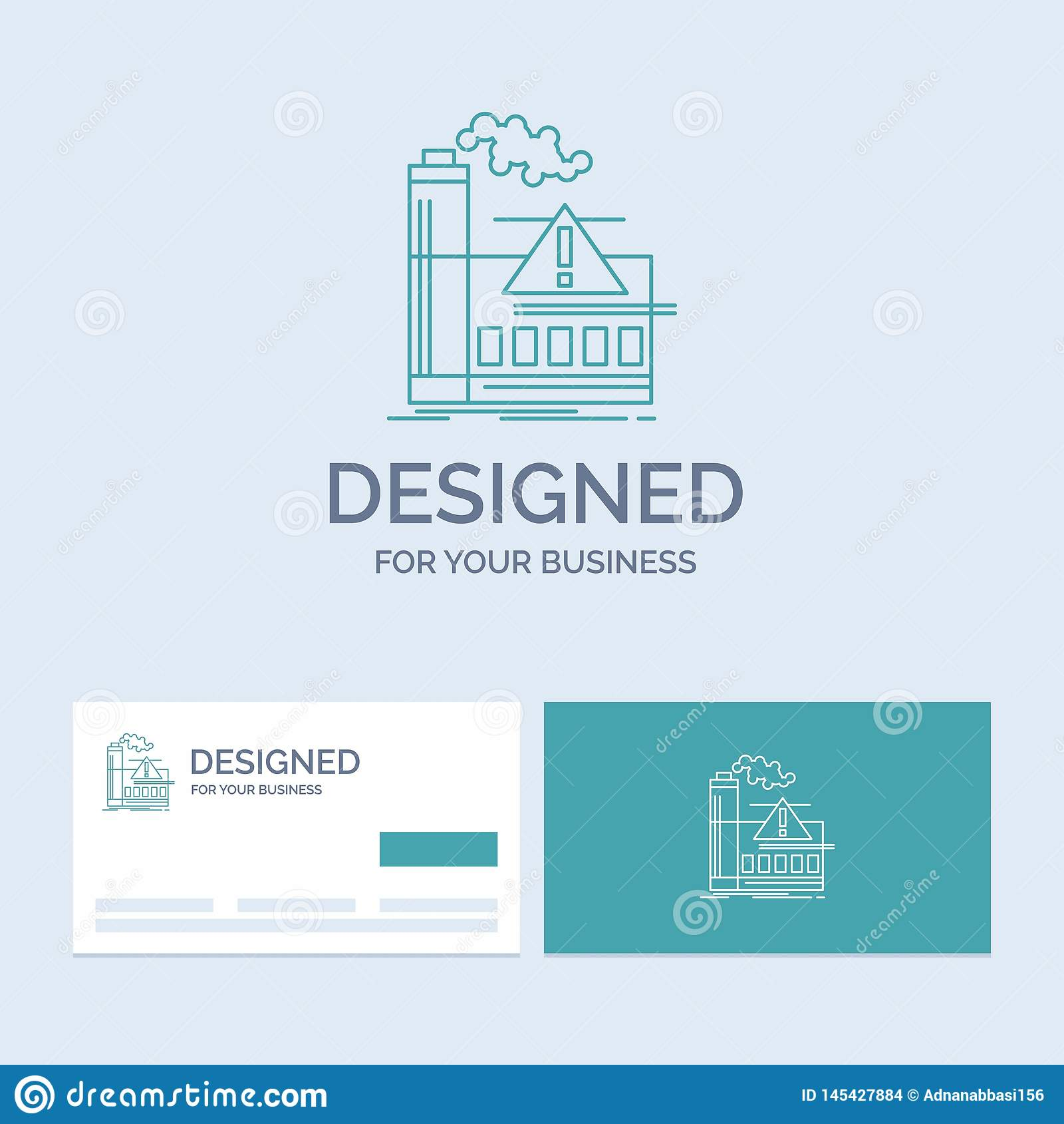 Verschmutzung, Fabrik, Luft, Alarm, Industrie Geschäft Logo Line Icon Symbol für Ihr Geschäft T?rkis-Visitenkarten mit Marke