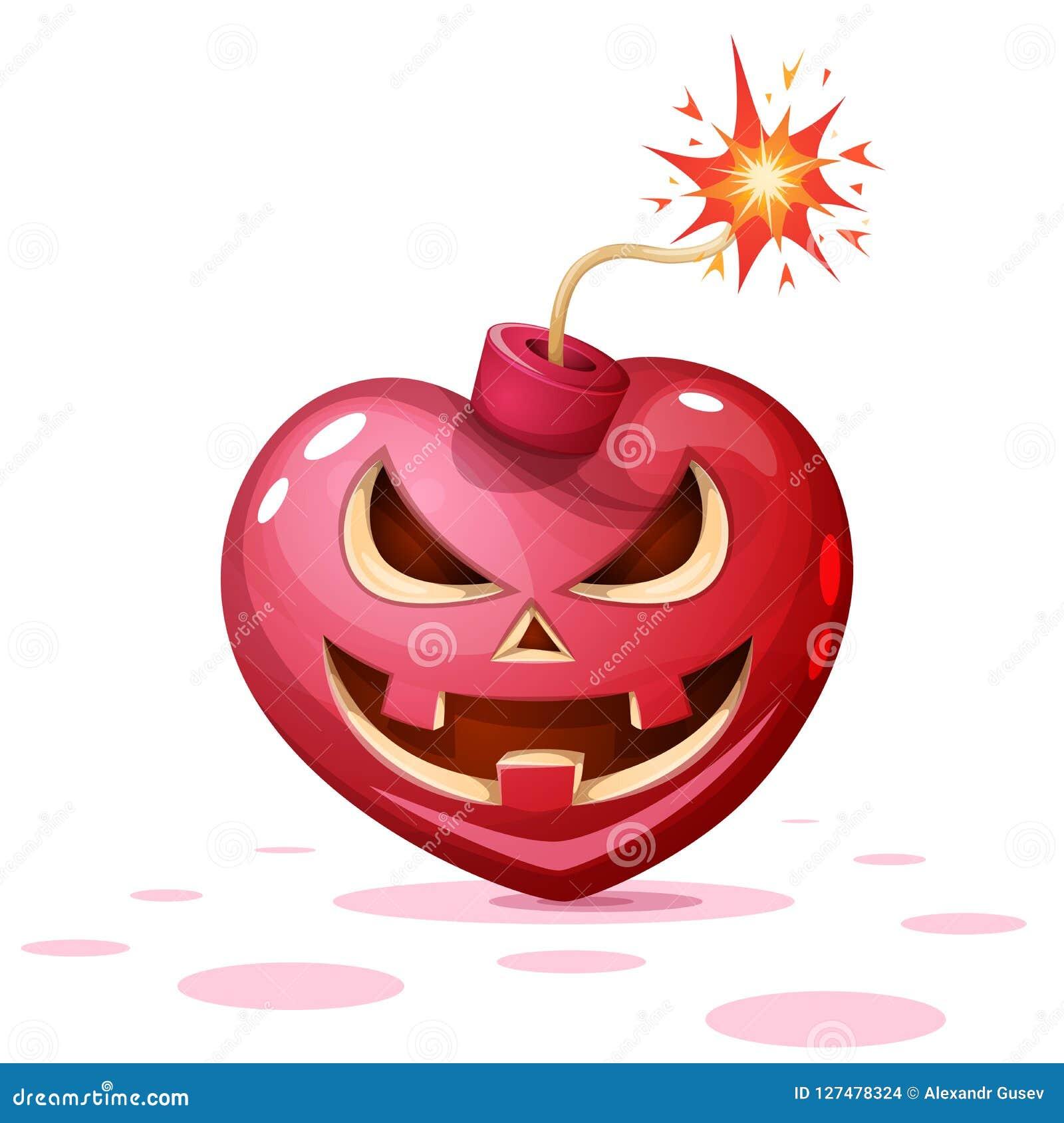 Verschrikking, vrees, Halloween-illustratie Hart, pompoen, de karakters van het bombeeldverhaal