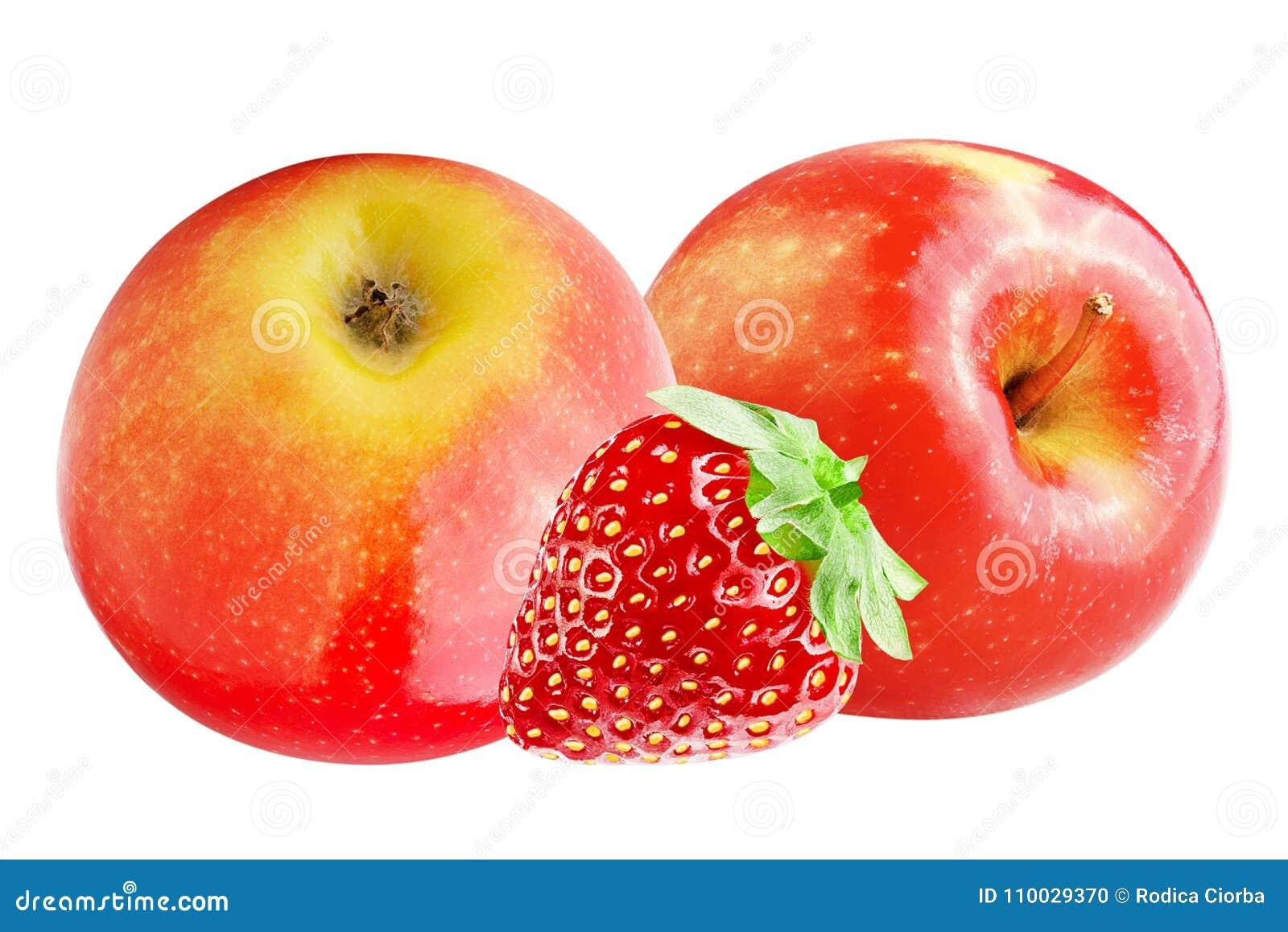Verse die appel en aardbei op wit wordt geïsoleerd