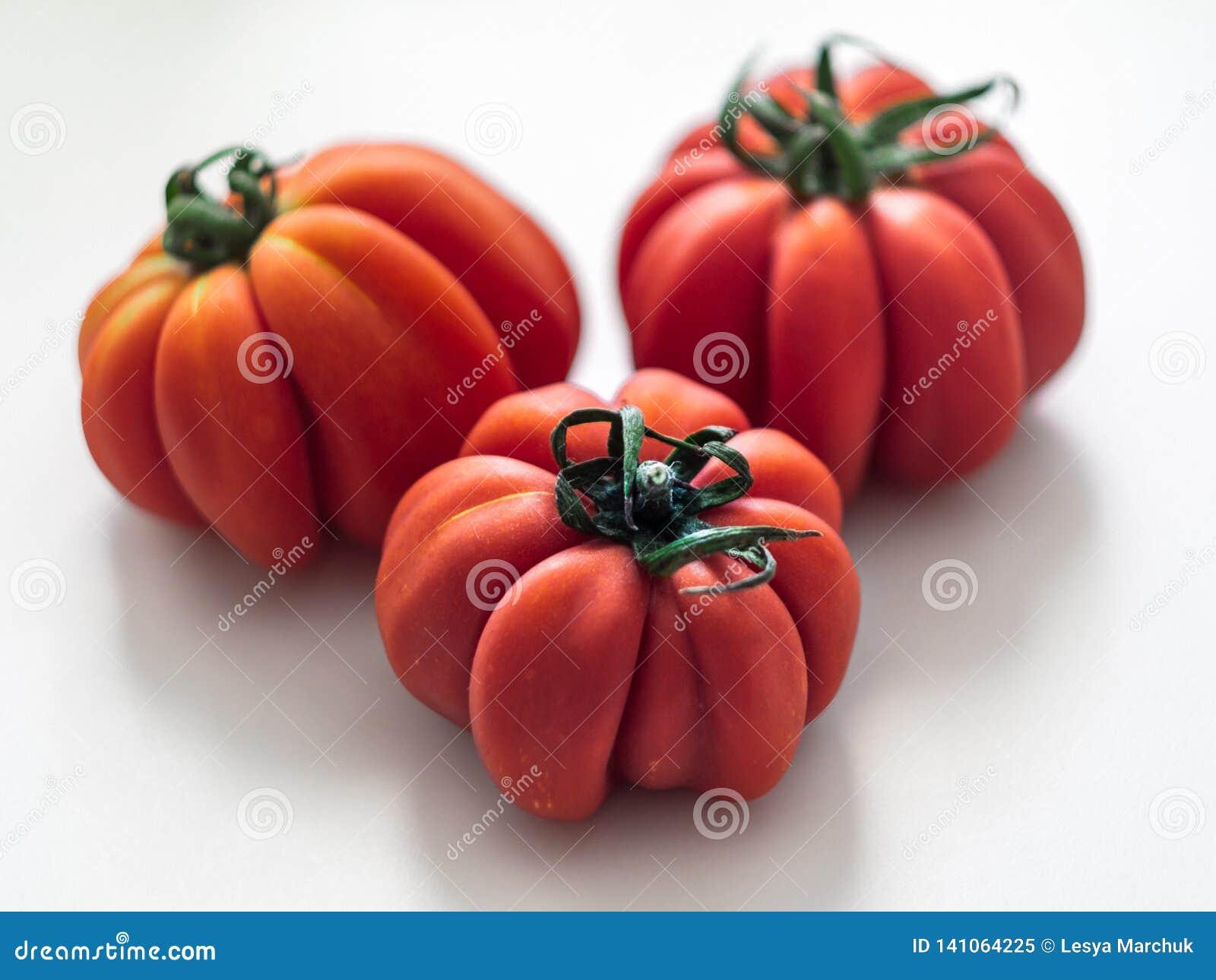 Verse geribbelde tomaat met kelkblad