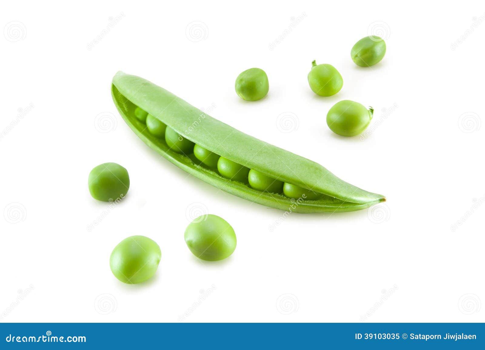 Verse groene erwt in de geïsoleerde peul
