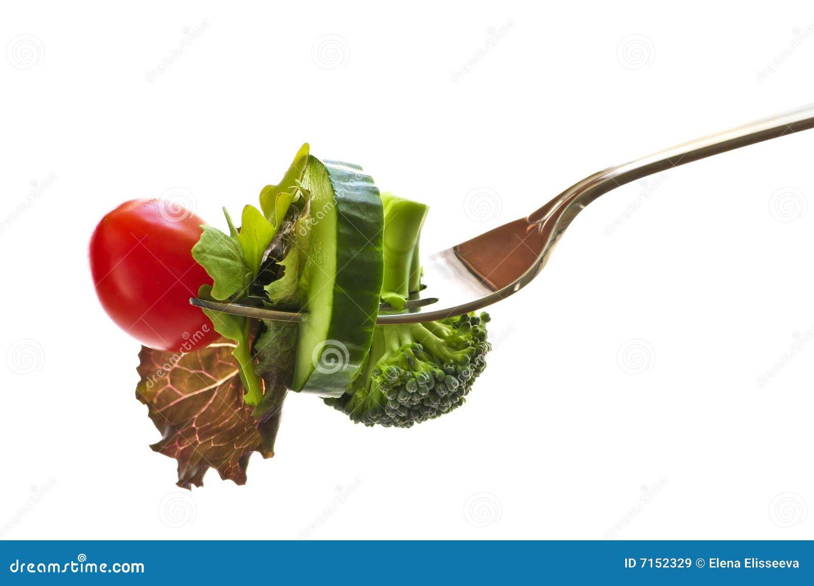 Verse groenten op een vork