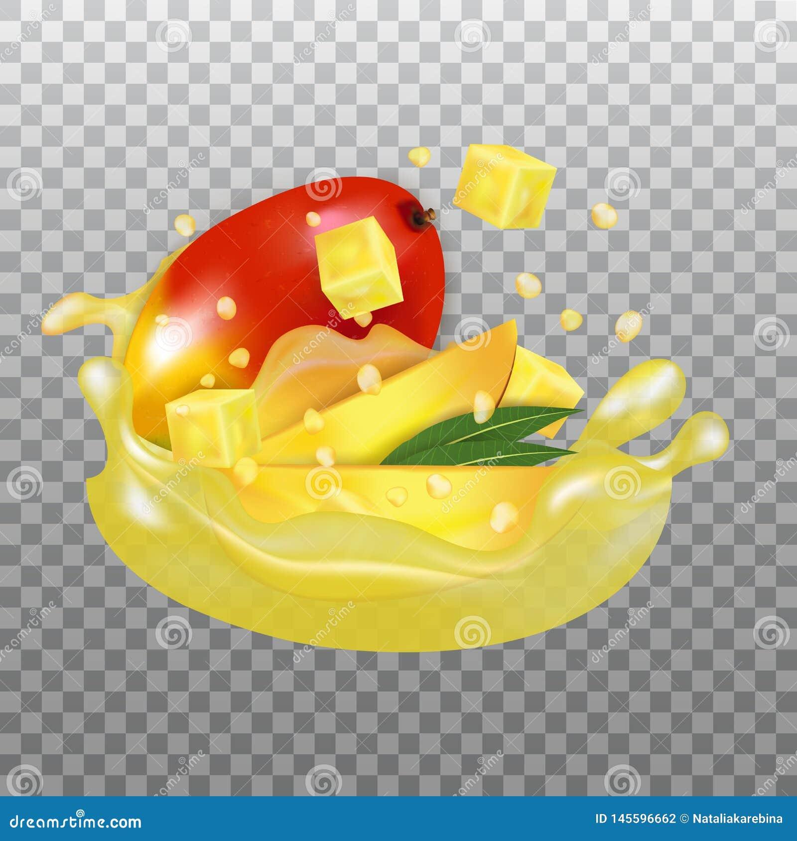 Verse Mango en sapplons Fruit 3d realistische vector op transparante achtergrond
