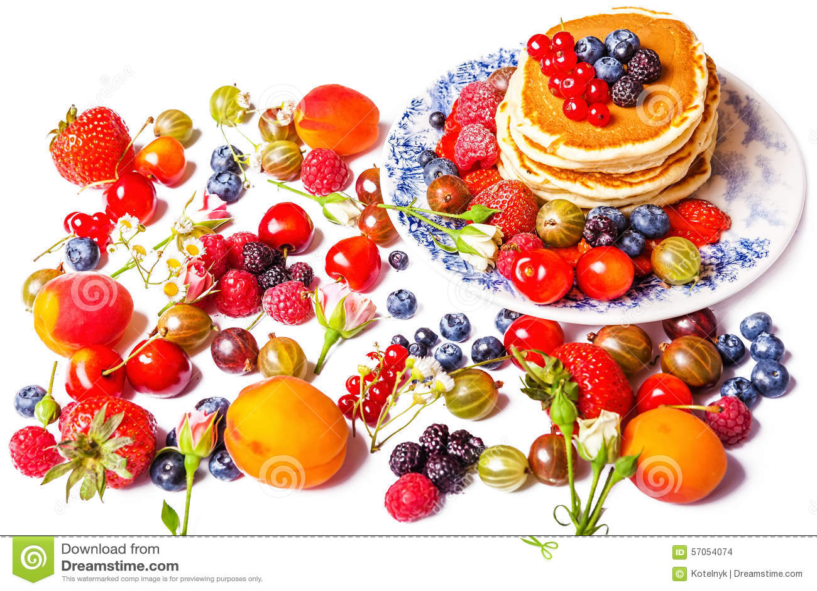 Verse pannekoeken met vruchten