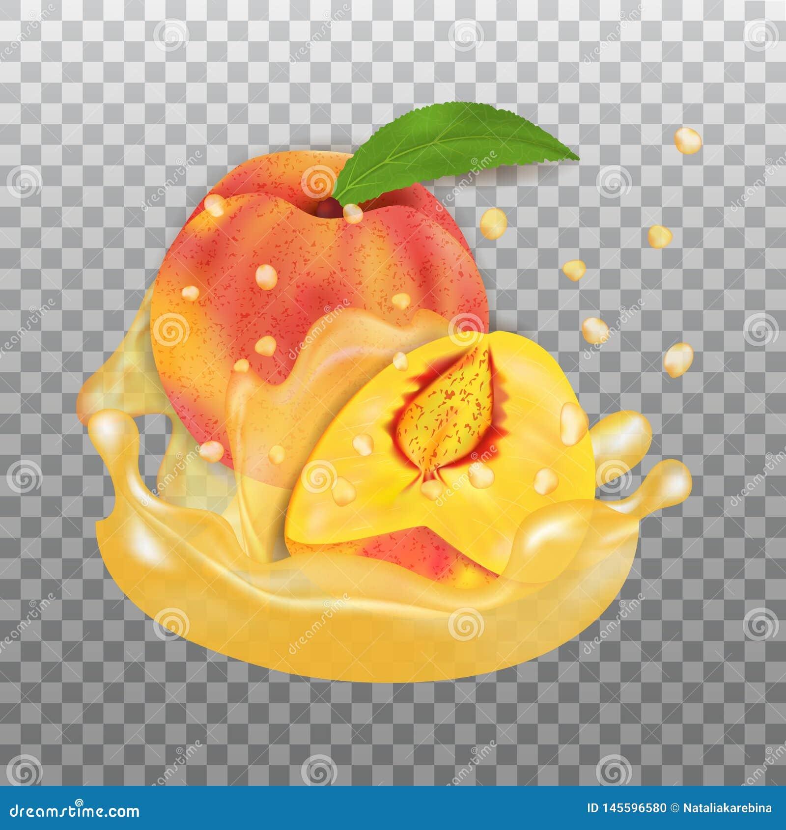 Verse Perzik en sapplons Fruit 3d realistische vector op transparante achtergrond