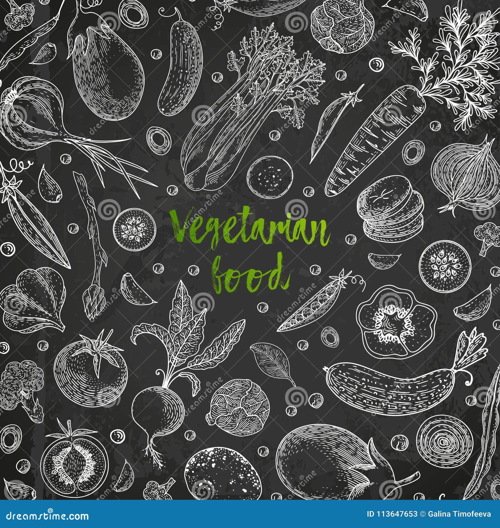 Verse product-groenten vegetables Hand getrokken illustratiekader met groenten Het product van de landbouwbedrijfmarkt Het grote