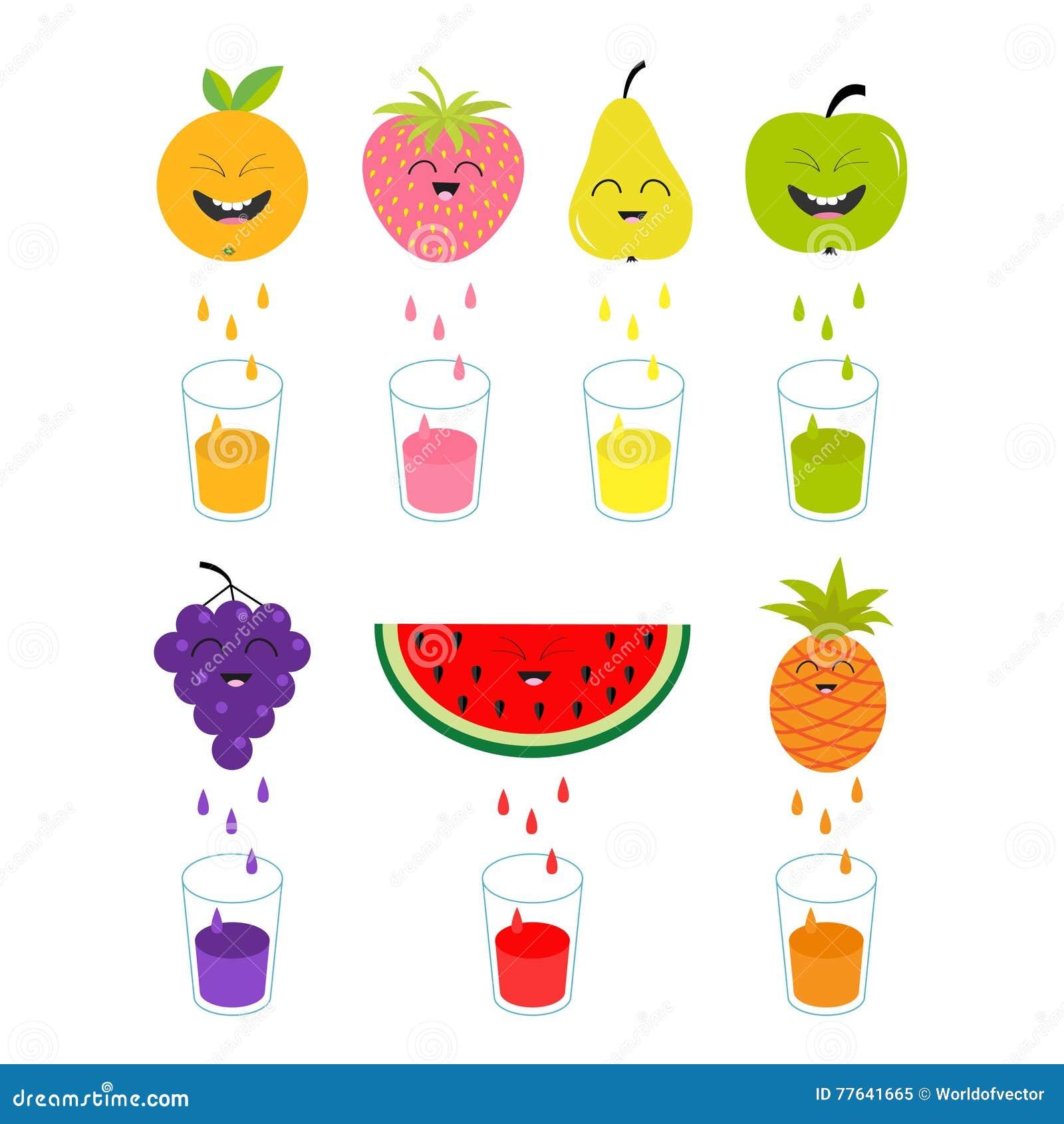 verse sap en glazen apple aardbei peer sinaasappel