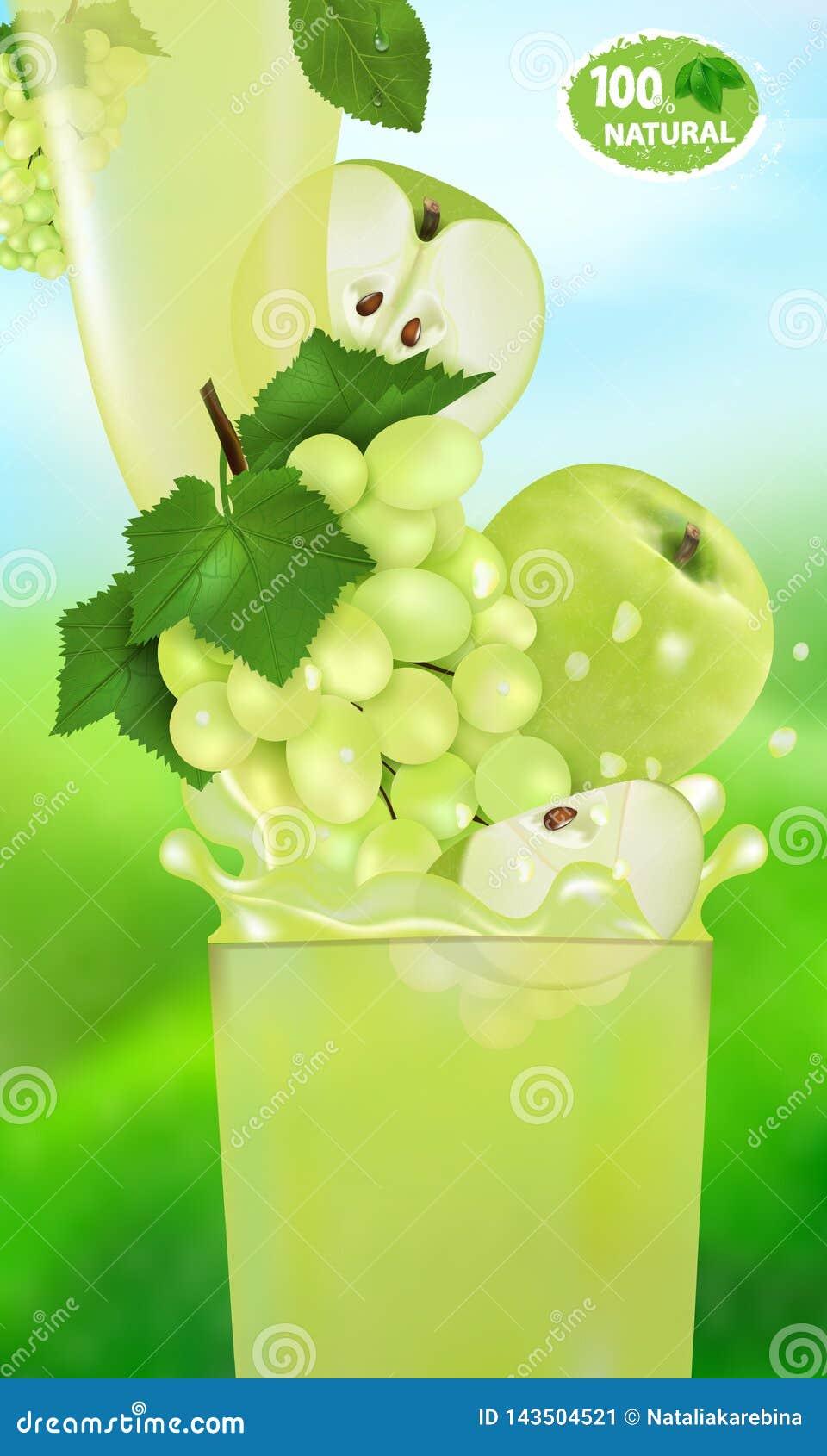 Verse sapdruif en Apple met plons Stroom van vloeistof met dalingen en zoete fruit 3d realistische vectorillustratie op