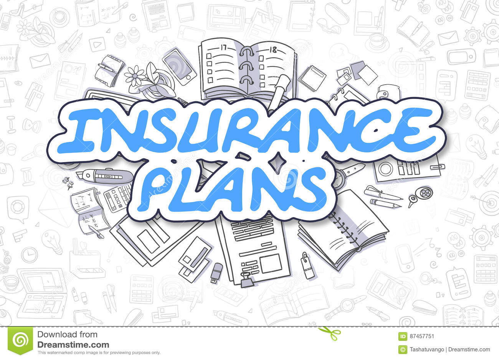 Versicherungen Karikatur Blau Text Die Goldene Taste Oder
