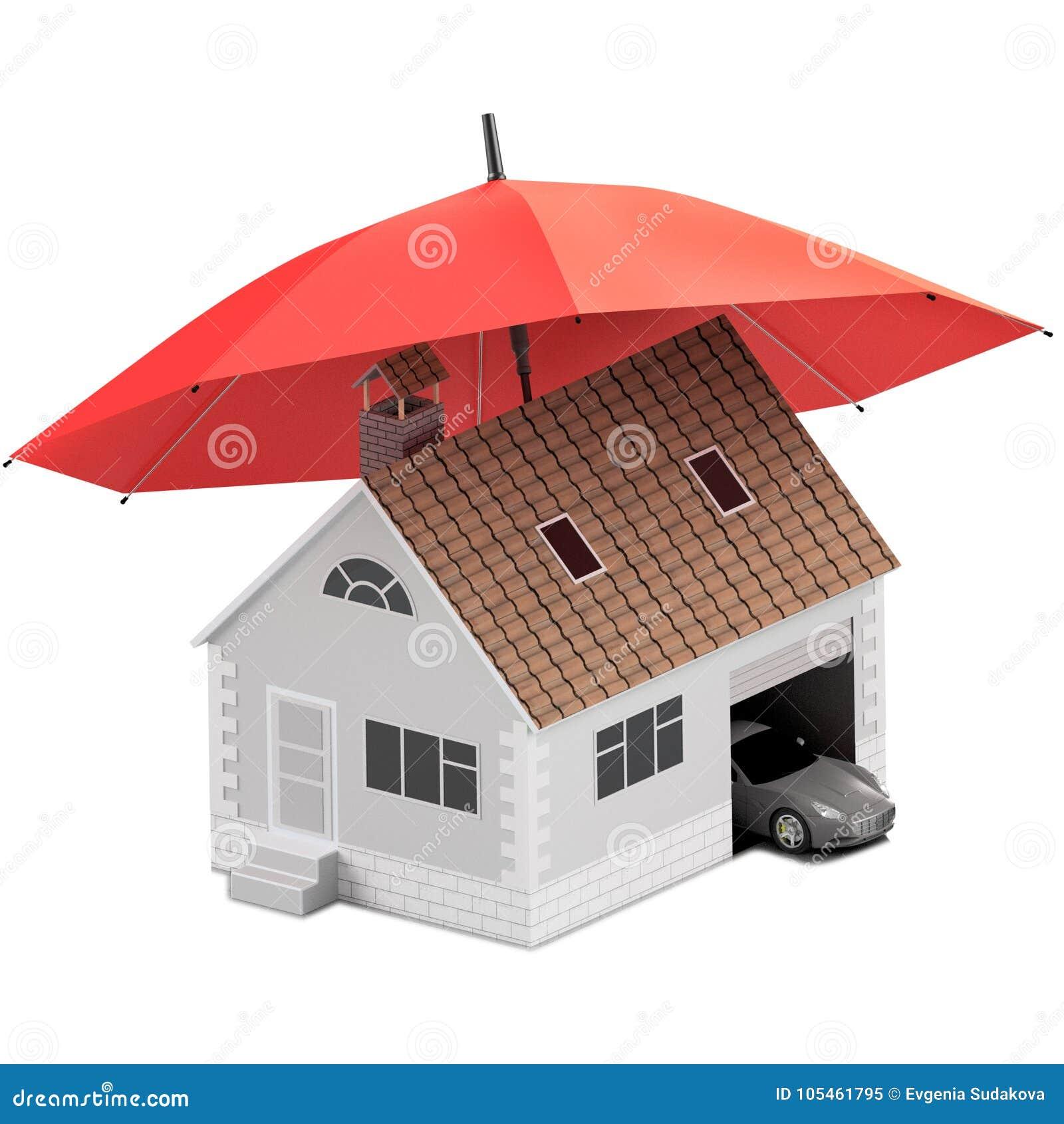 Versicherungshaus, Haus, Leben, Autoschutz Kaufendes Haus und Auto für Familienikone Schützen Sie Leute Konzepte Abbildung 3D iko