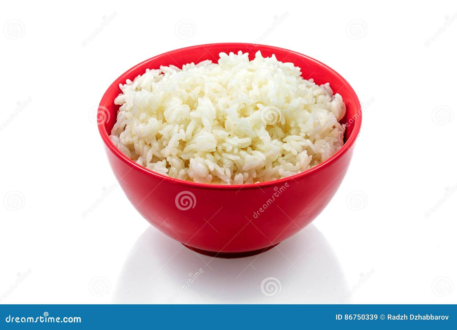 Versier, gekookte rijst, witte achtergrond