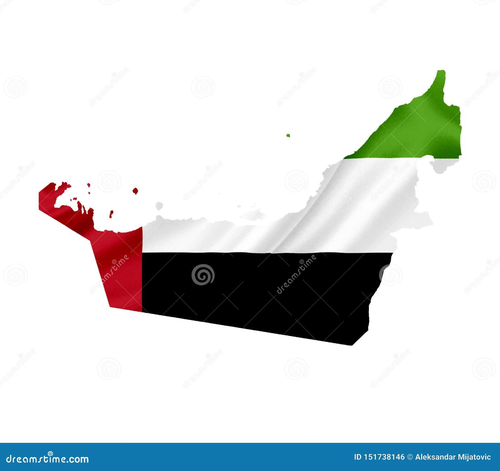 ?versikt av F?renade Arabemiraten med den vinkande flaggan som isoleras p? vit