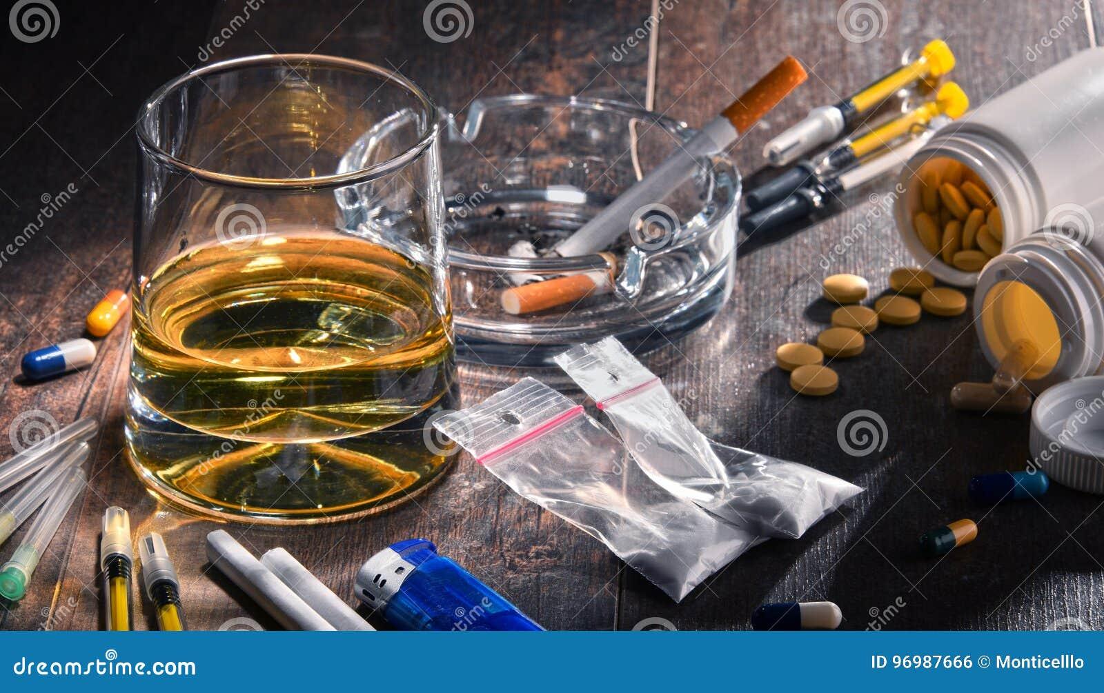 Verslavende substanties, met inbegrip van alcohol, sigaretten en drugs