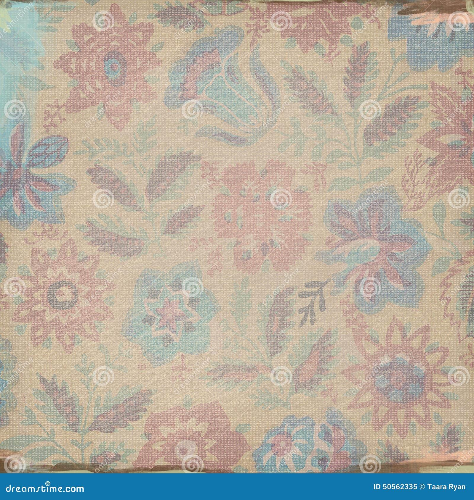 Versleten grunge de achtergrond kijkt tan blue floral brushed ...