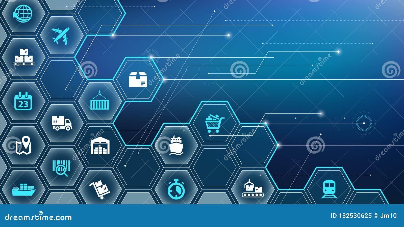 Versorgungskettemanagementkonzept, Beschaffung, lagernd, Transport, Verteilung - Vektorillustration ein